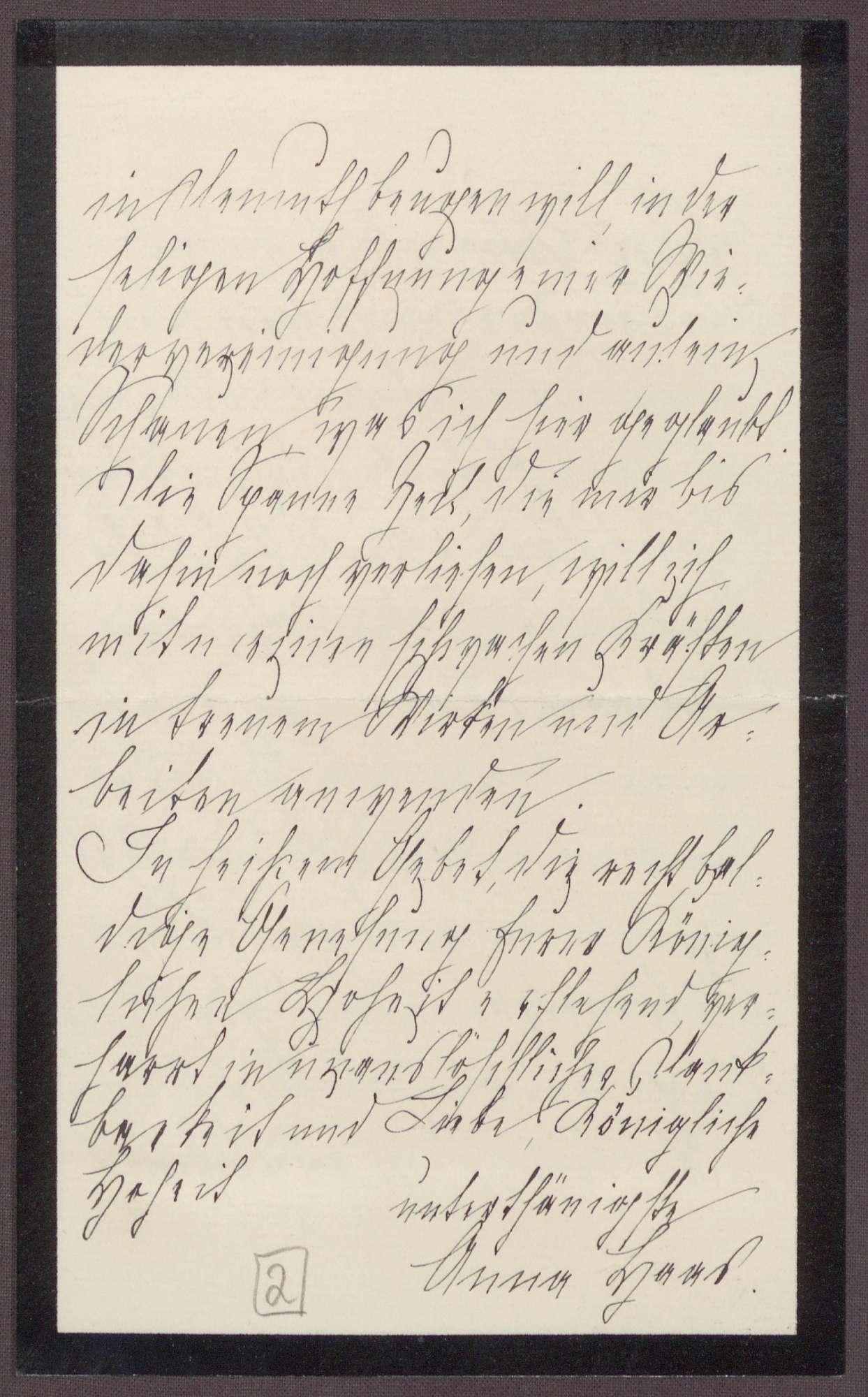 Schreiben von Anna Haas an die Großherzogin Luise; Dank an die Großherzogin für die Ehre, sie auf einer Reise begleiten zu dürfen, Bild 3