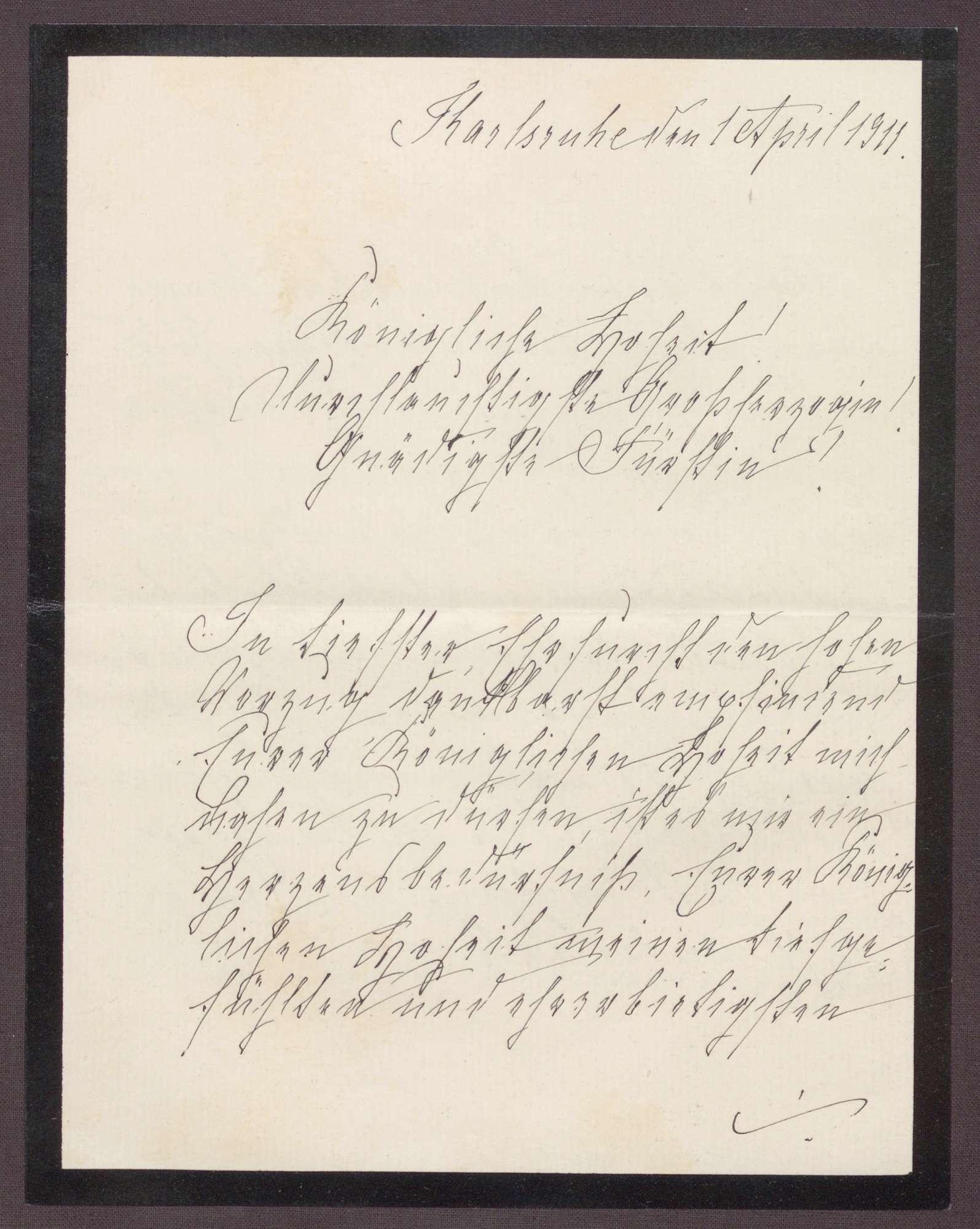 Schreiben von Anna Haas an die Großherzogin Luise; Dank für die aufmunternden Worte zum Todestag des Ehemannes, Bild 1
