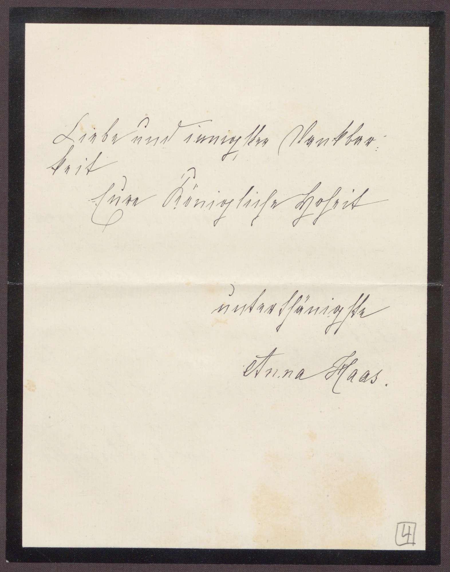 Schreiben von Anna Haas an die Großherzogin Luise; Dank für die aufmunternden Worte zum Todestag des Ehemannes, Bild 3