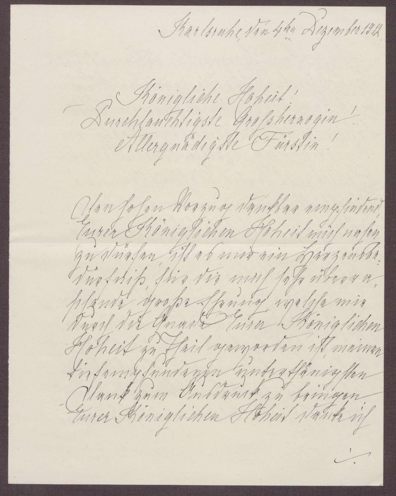 Schreiben von Anna Haas an die Großherzogin Luise; Dank für Jubiläumswünsche und den Blumengruß, Bild 1