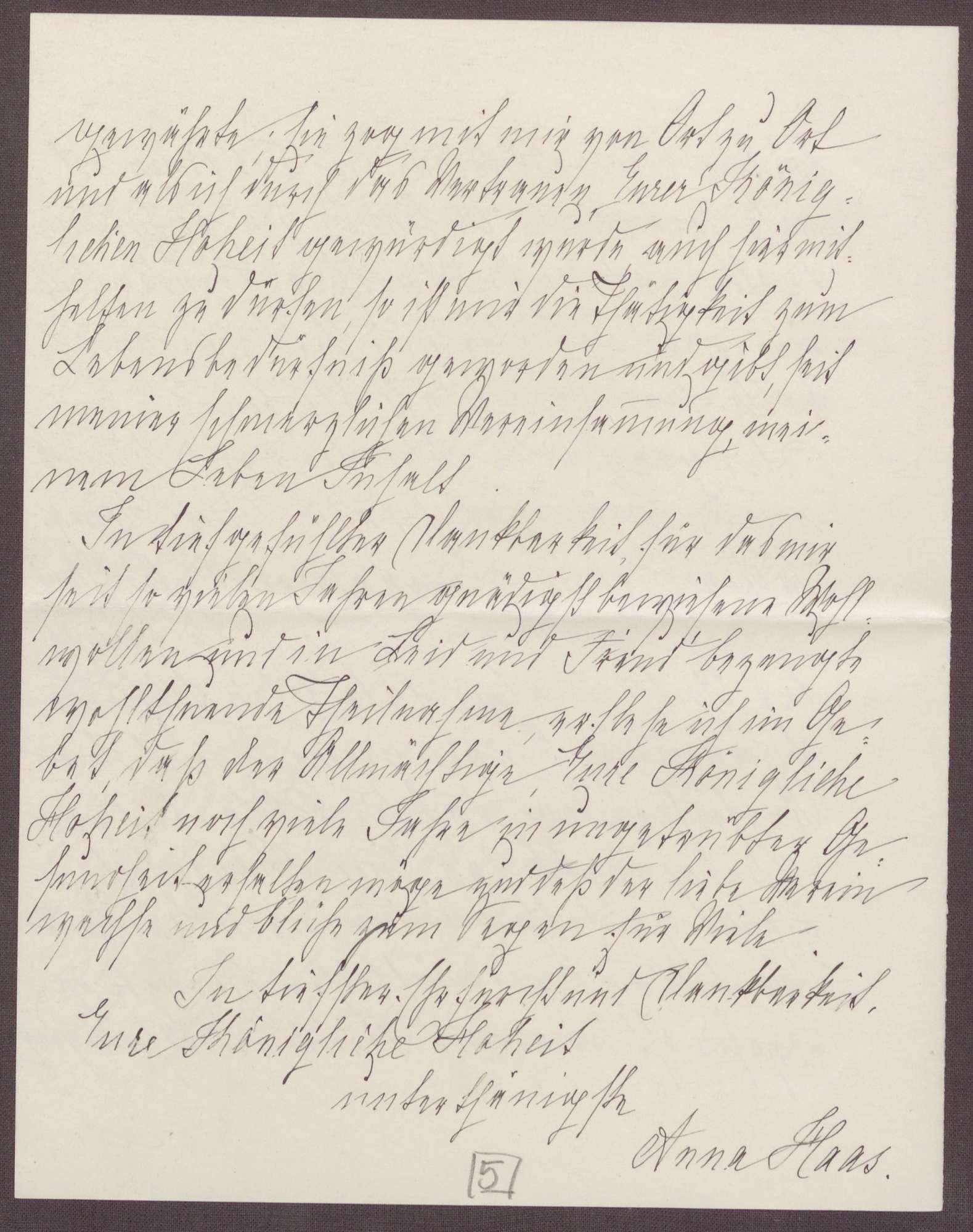 Schreiben von Anna Haas an die Großherzogin Luise; Dank für Jubiläumswünsche und den Blumengruß, Bild 3