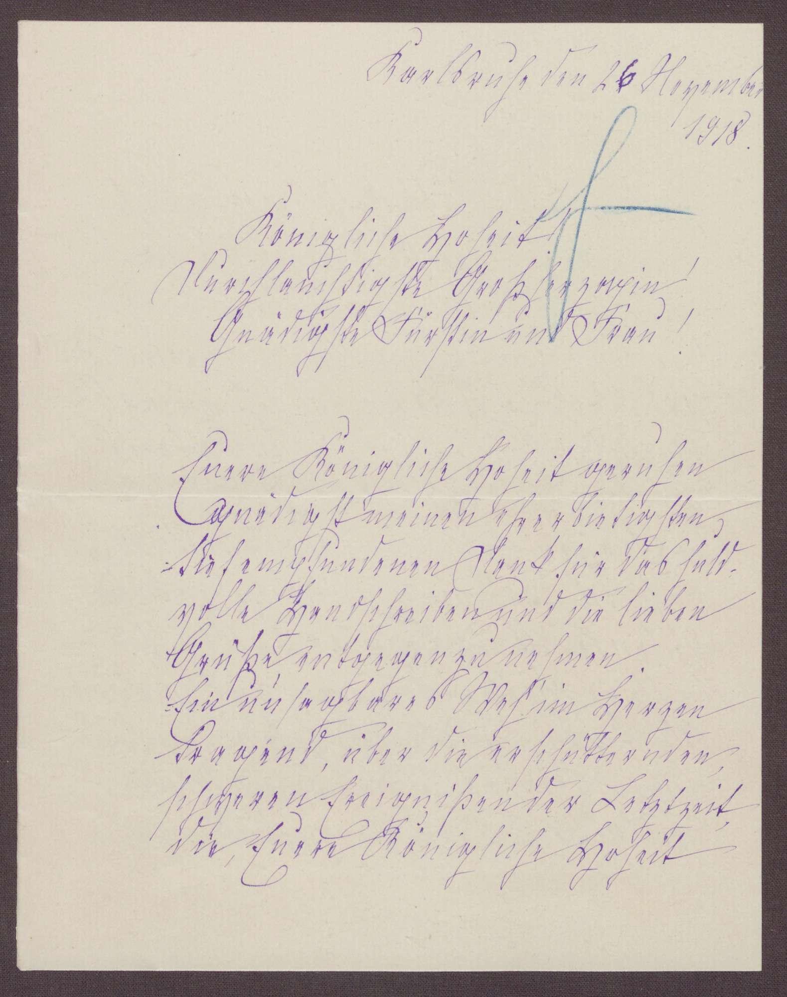 Schreiben von Anna Haas an die Großherzogin Luise; Belegung der Volksküchen, Stimmungslage in dem Heim, Inspektion durch den Soldatenrat, Bild 1