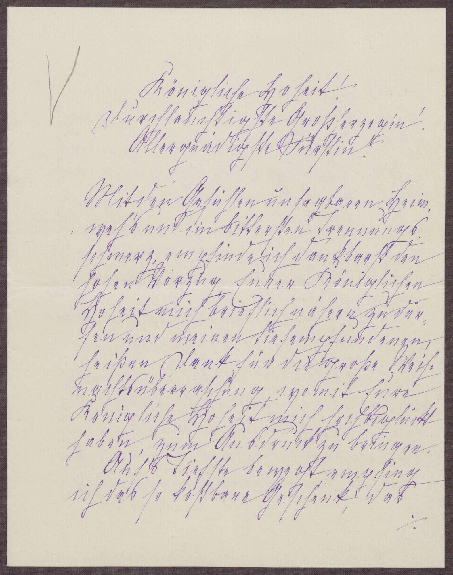 Schreiben von Anna Haas an die Großherzogin Luise; Dank für das Weihnachtsgeschenk und Hoffen auf eine baldige Gesundung der Großherzogin, Bild 1