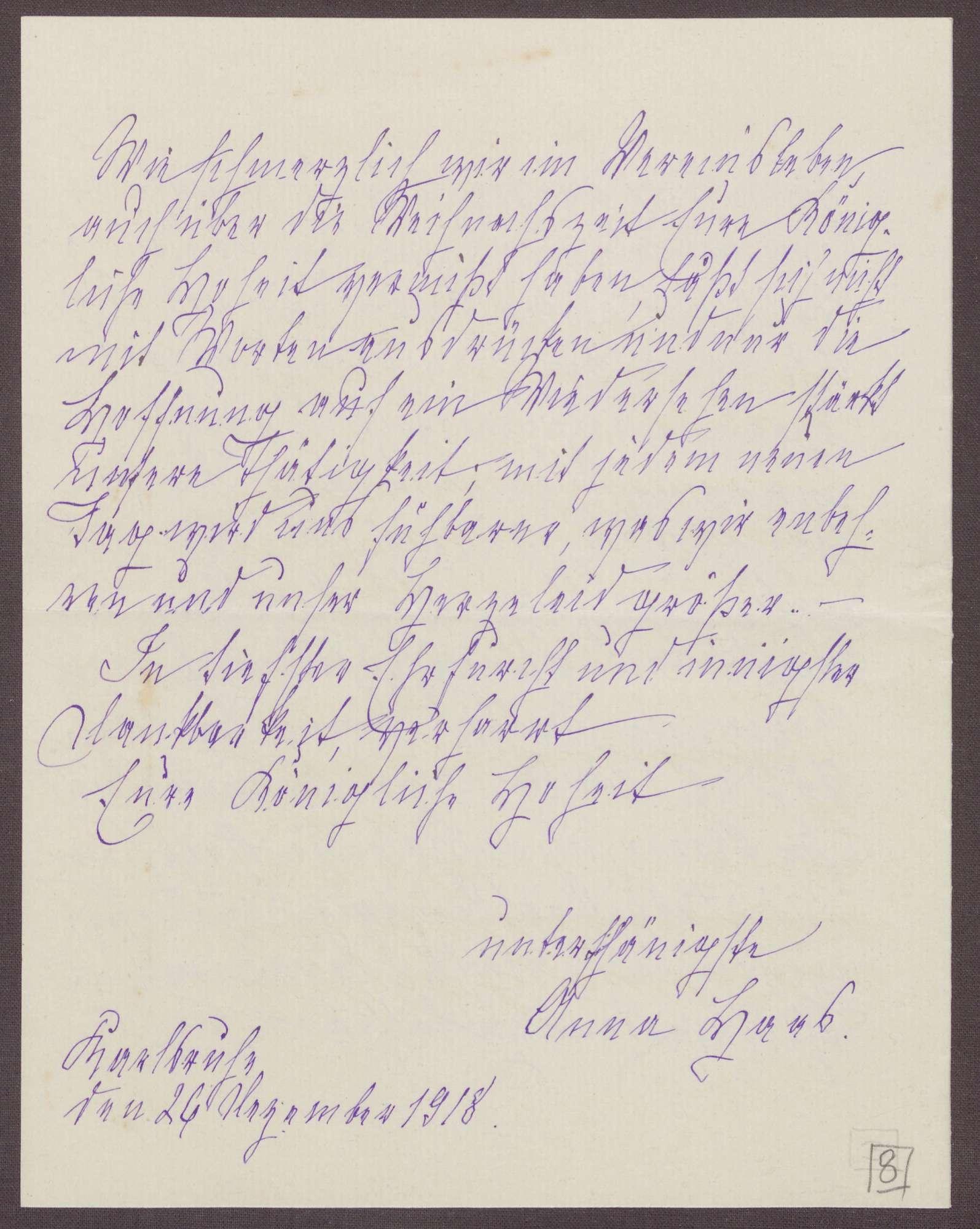 Schreiben von Anna Haas an die Großherzogin Luise; Dank für das Weihnachtsgeschenk und Hoffen auf eine baldige Gesundung der Großherzogin, Bild 3