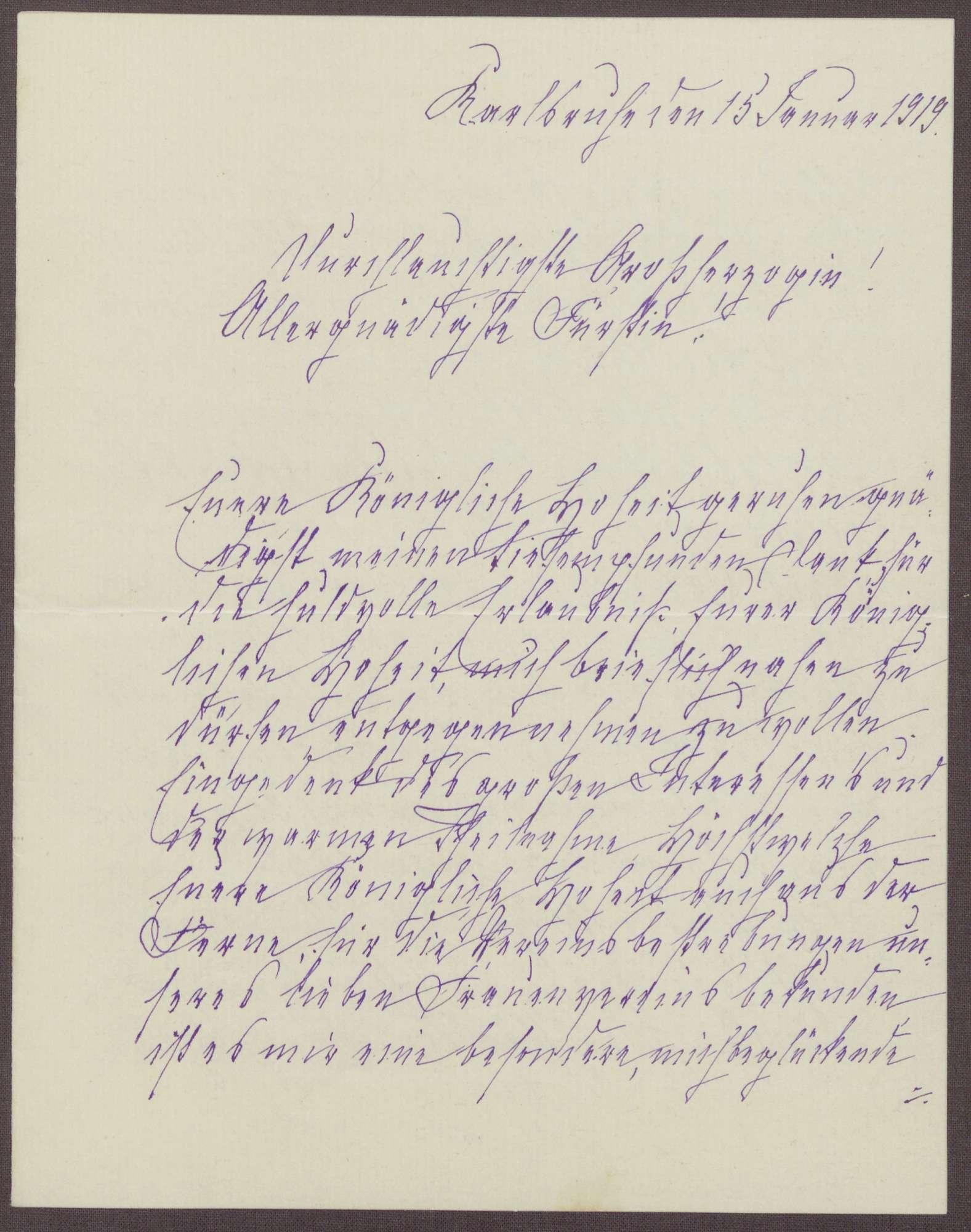 Schreiben von Anna Haas an die Großherzogin Luise; Holz-, Kohle- und Nahrungsmittelspenden und Renovierungsarbeiten in dem Heim, Bild 1