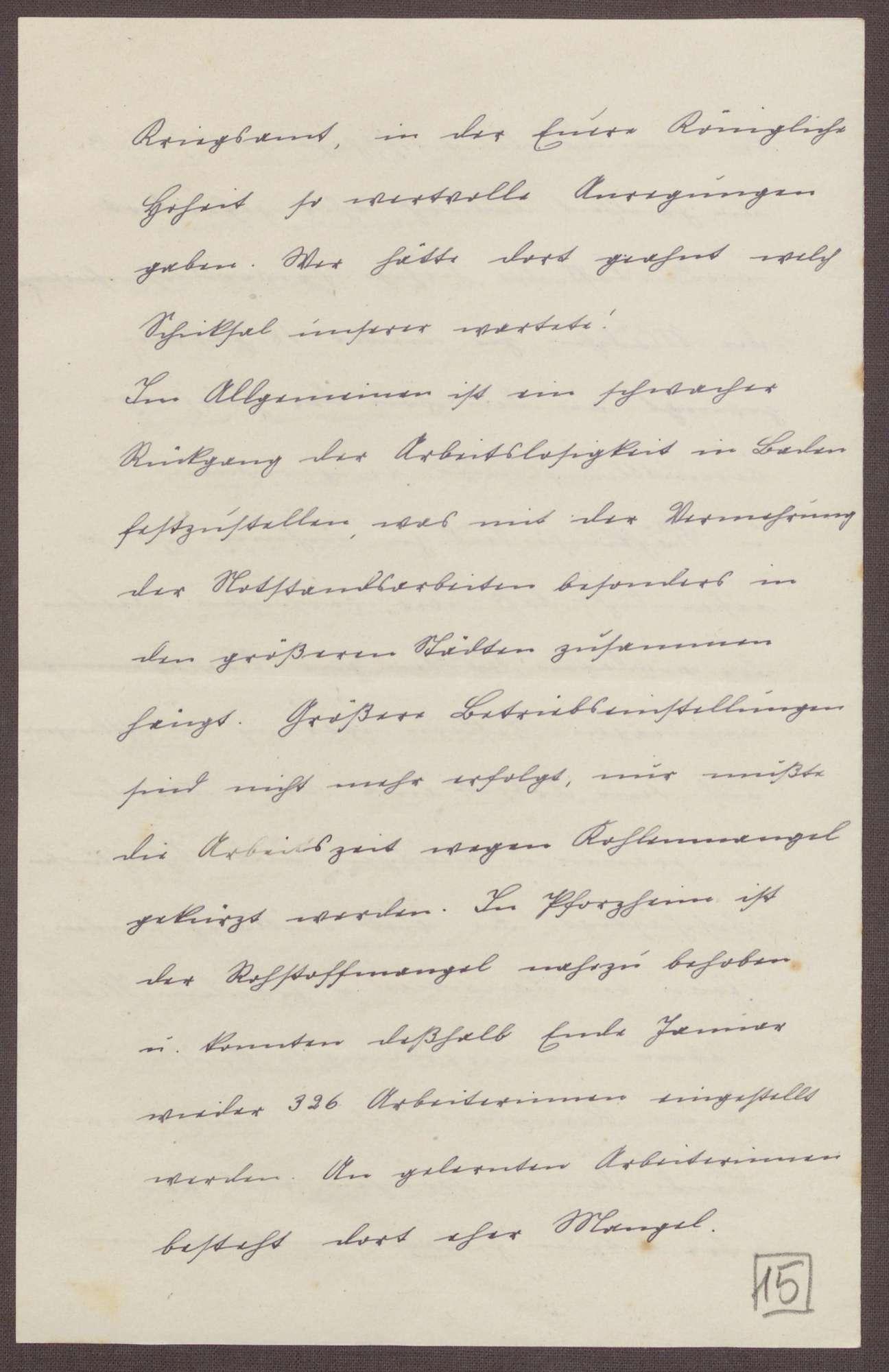 Schreiben von Sophie Sautier an die Großherzogin Luise; Besuch des Arbeitsamtes in Emmendingen; Sorge um geringe Löhne und Verpflegung in den Heimen; Rohstoffmangel und Arbeitszeitverkürzung, Bild 3