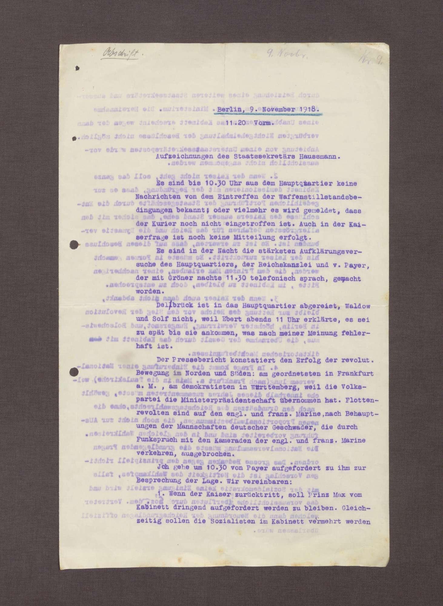 Aufzeichnungen von Conrad Haußmann über den 09.11.1919, Bild 1