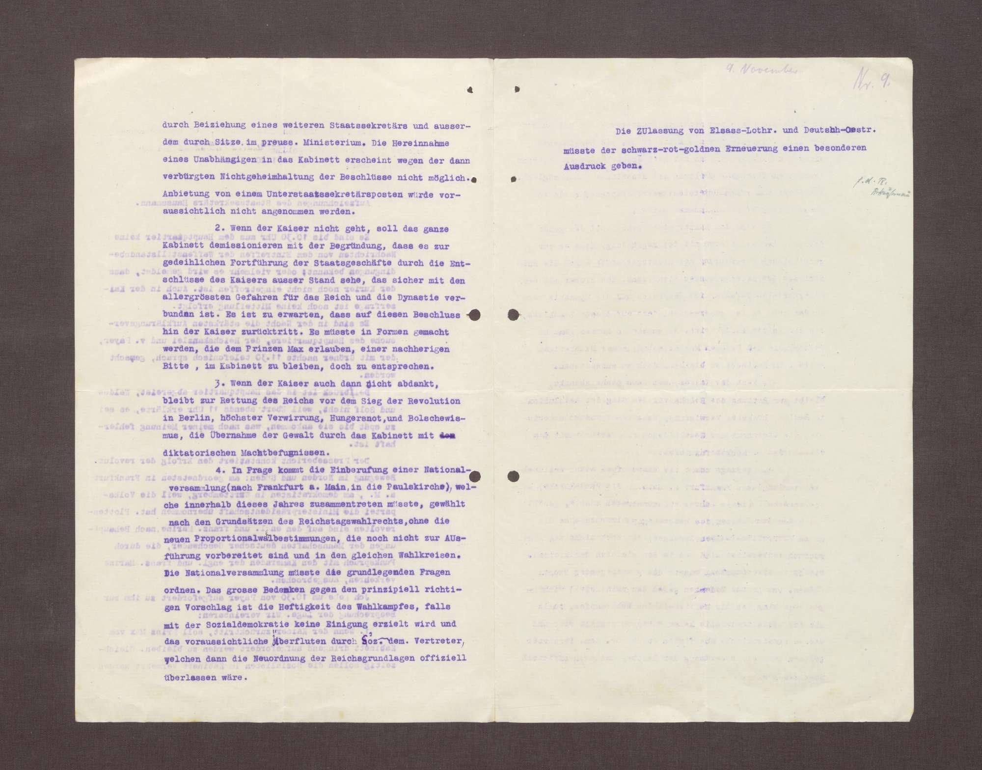 Aufzeichnungen von Conrad Haußmann über den 09.11.1919, Bild 2