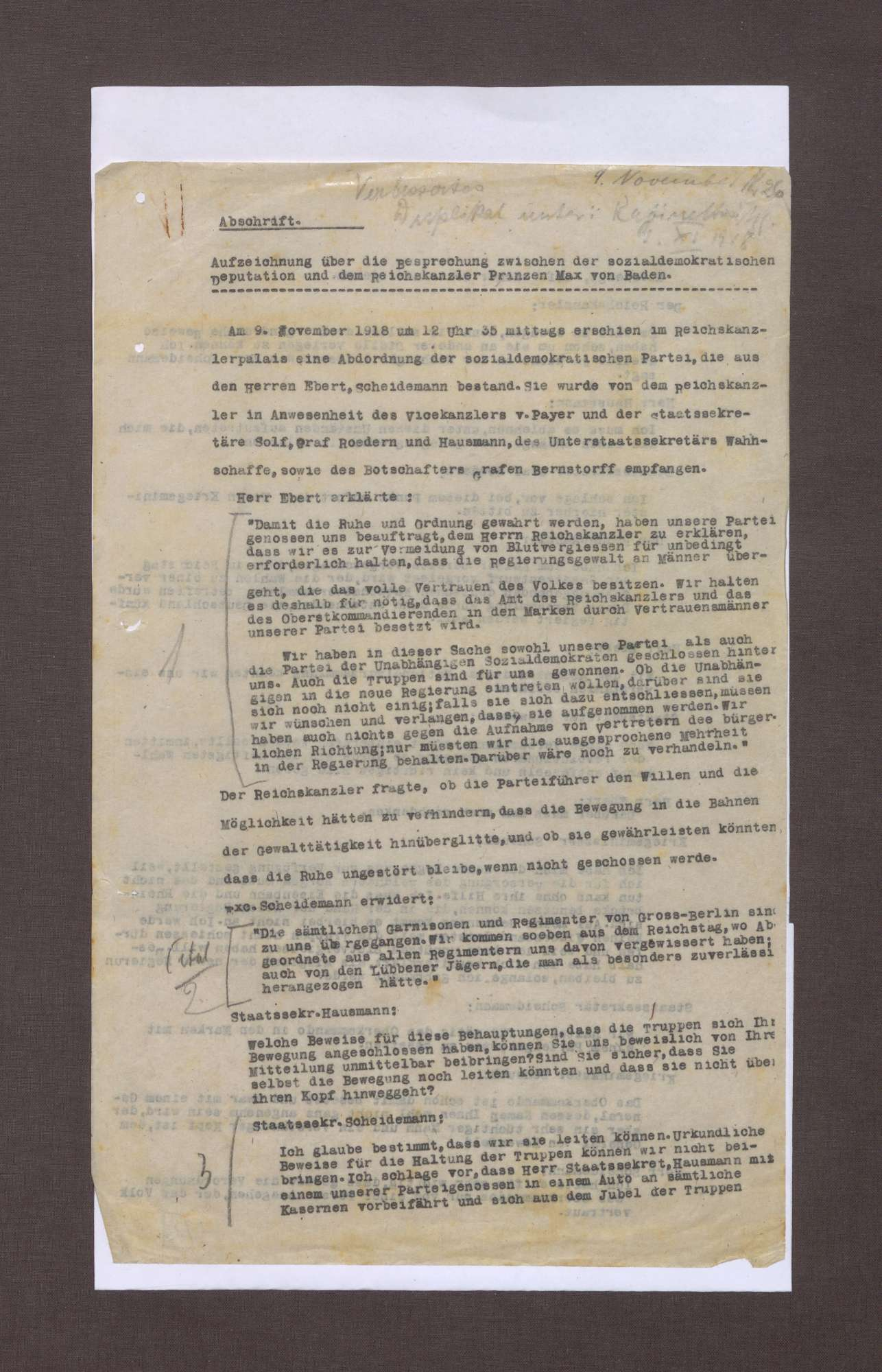 Aufzeichnungen von Conrad Haußmann und Walter Simons über die Ereignisse am 09.11.1918, Bild 1