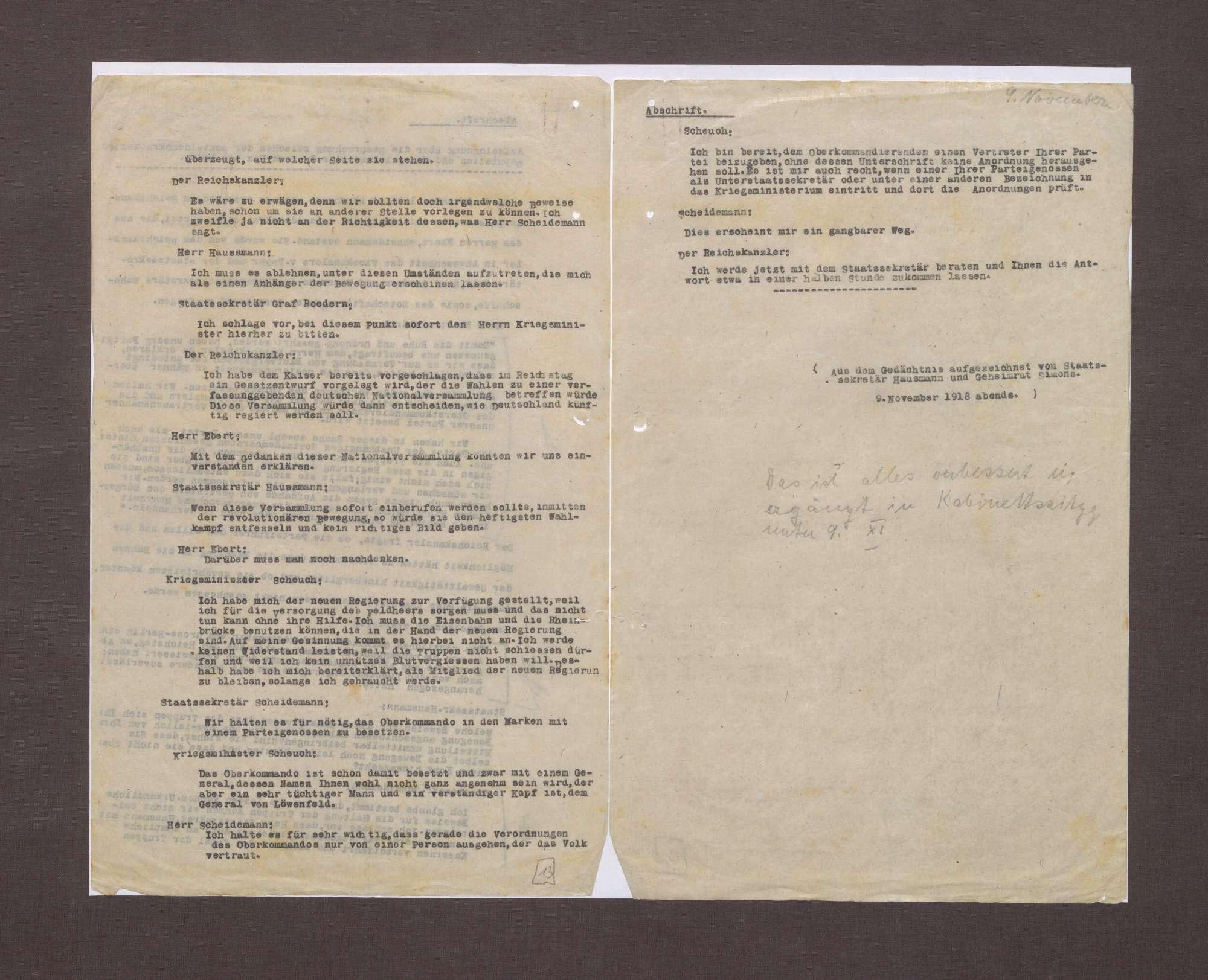 Aufzeichnungen von Conrad Haußmann und Walter Simons über die Ereignisse am 09.11.1918, Bild 2