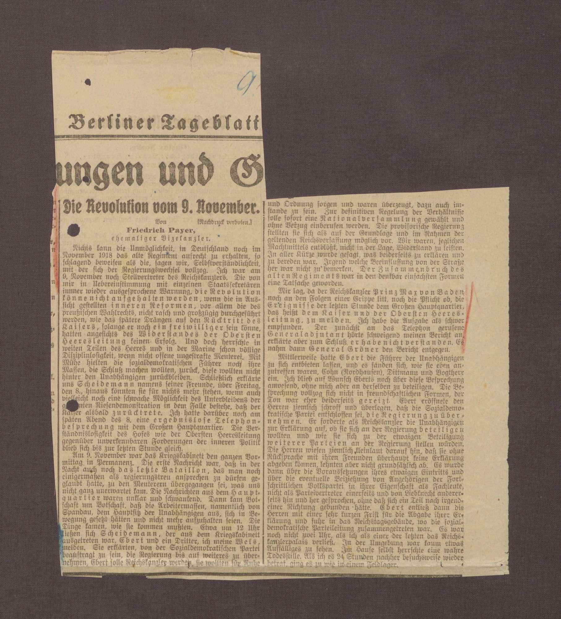 """""""Die Revolution vom 9. November"""" von Friedrich Payer, in: Berliner Tageblatt, Bild 1"""