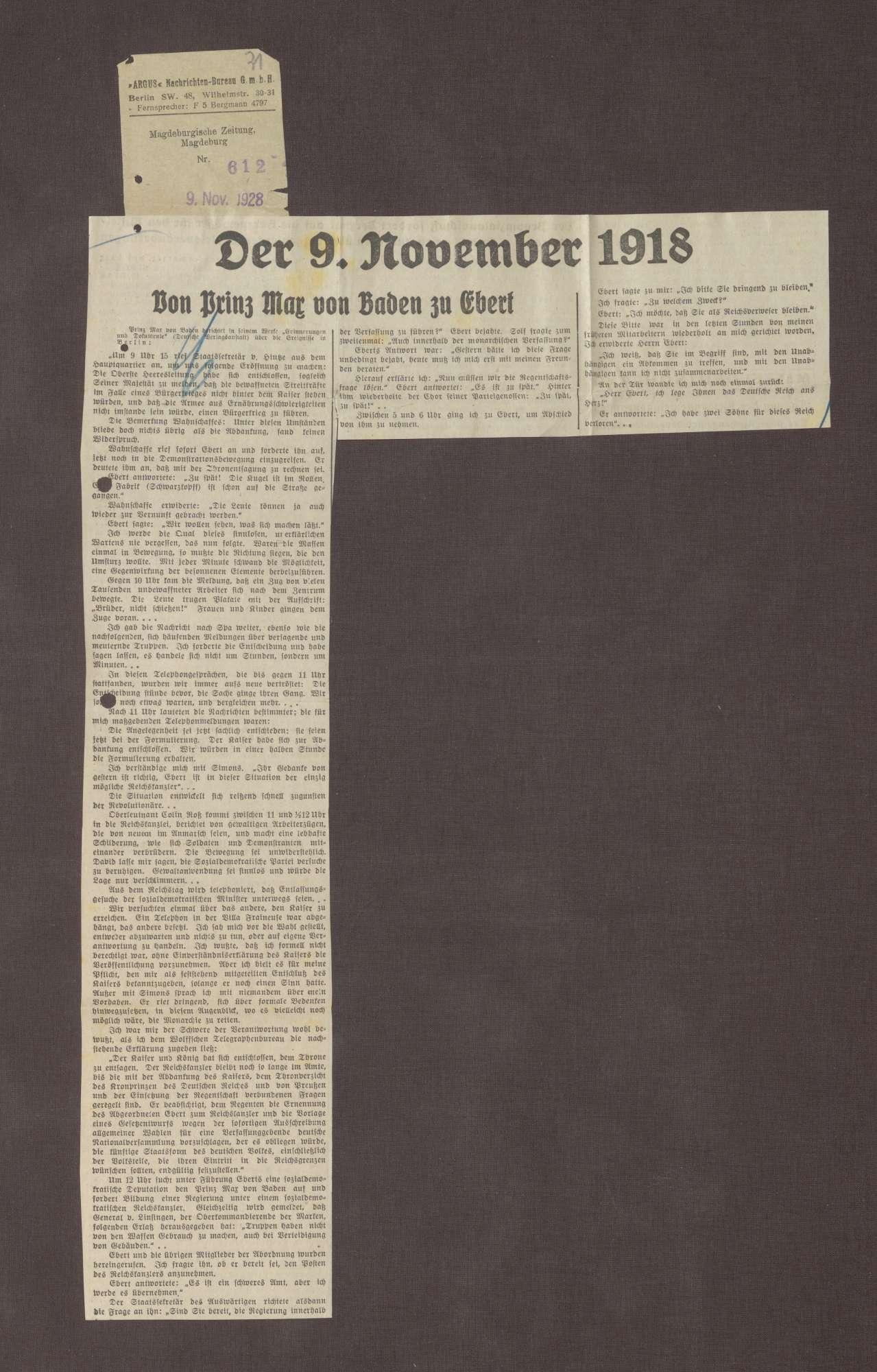 """""""Der 9. November 1918. Von Prinz Max zu Ebert"""", in: Magdeburgische Zeitung, Bild 1"""