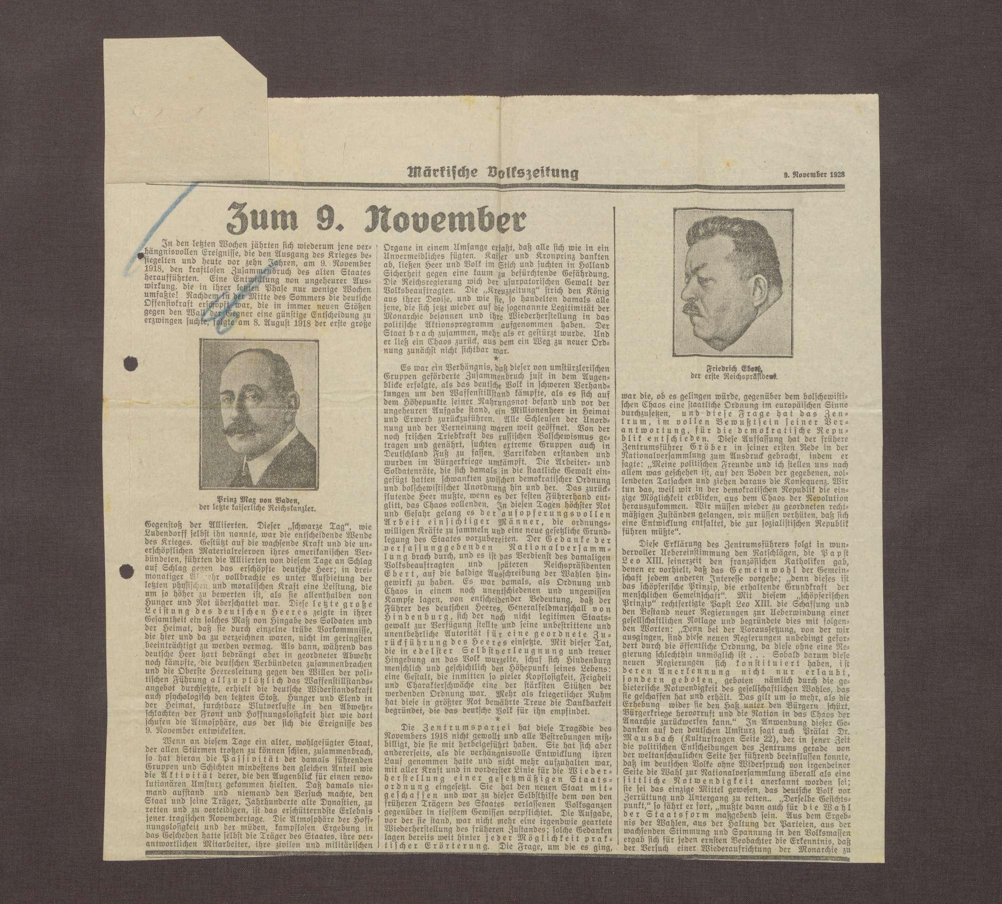 """""""Zum 9. November"""", in: Märkische Volkszeitung, Bild 2"""
