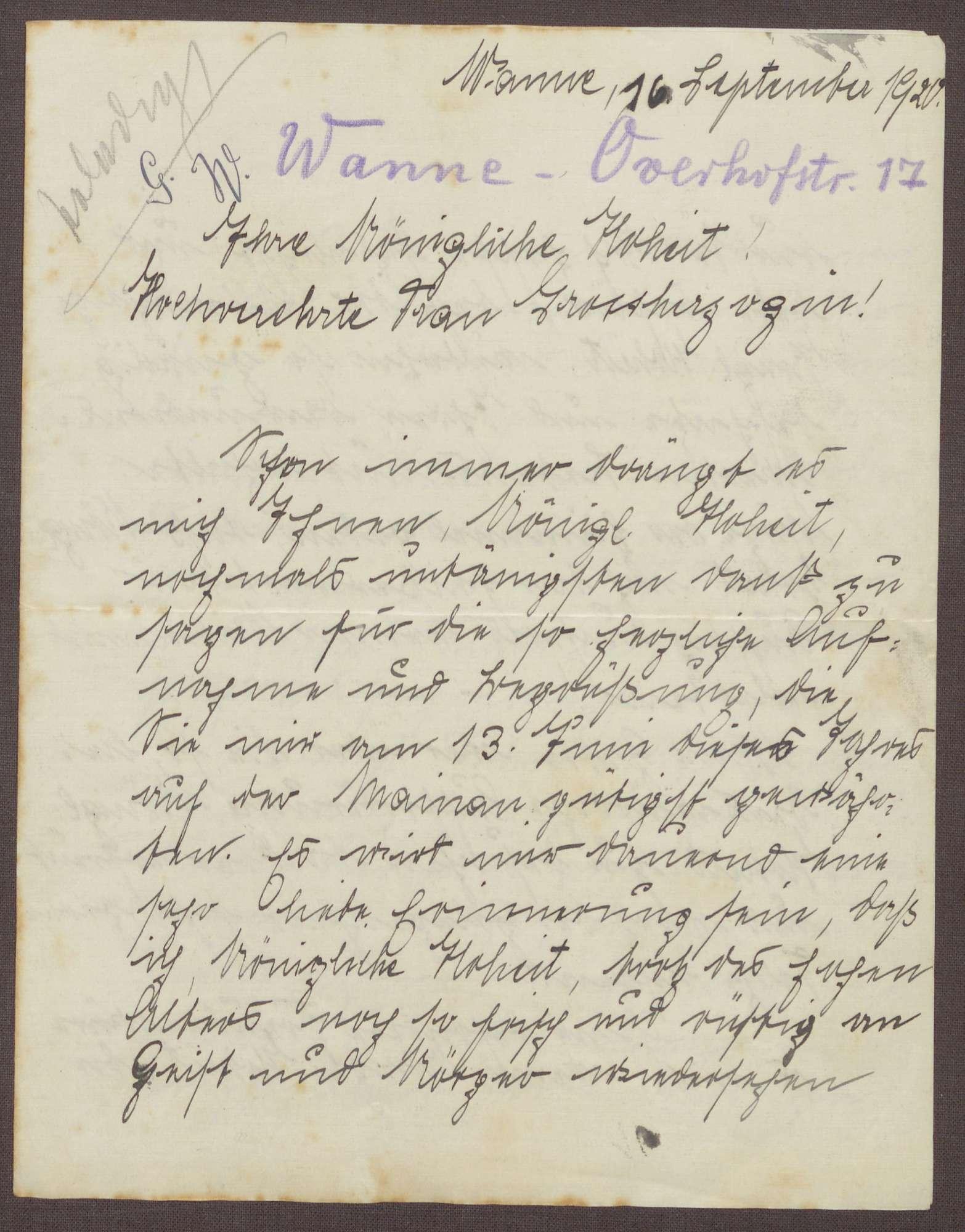 Schreiben von Greta Wolff an die Großherzogin Luise; Aufenthalt auf der Insel Mainau; Segenswünsche für die Großherzogin, Bild 1