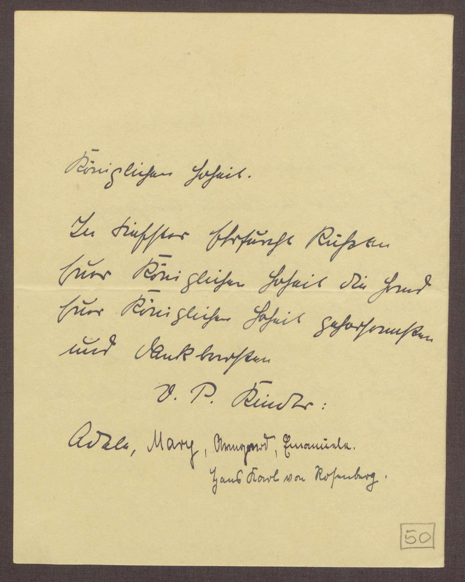 Schreiben von Kindern des Viktoria-Pensionats an die Großherzogin Luise; Dank für die schönen Tage in Baden-Baden, Bild 3