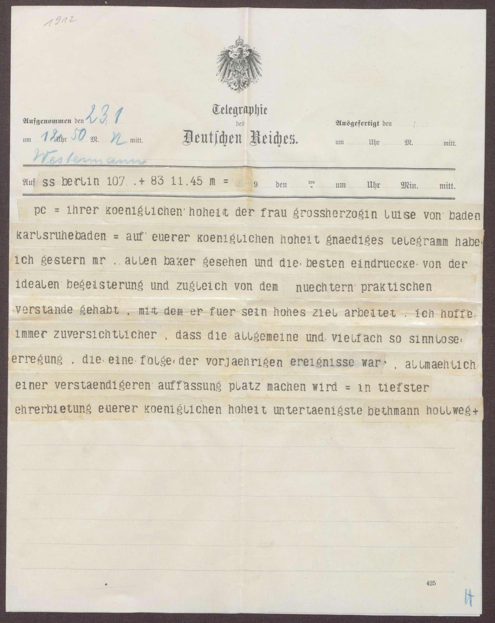 Schreiben von Theobald von Bethmann Hollweg an die Großherzogin Luise; Treffen mit Allen Baker und Hoffen auf eine Beruhigung der außenpolitischen Situation, Bild 1