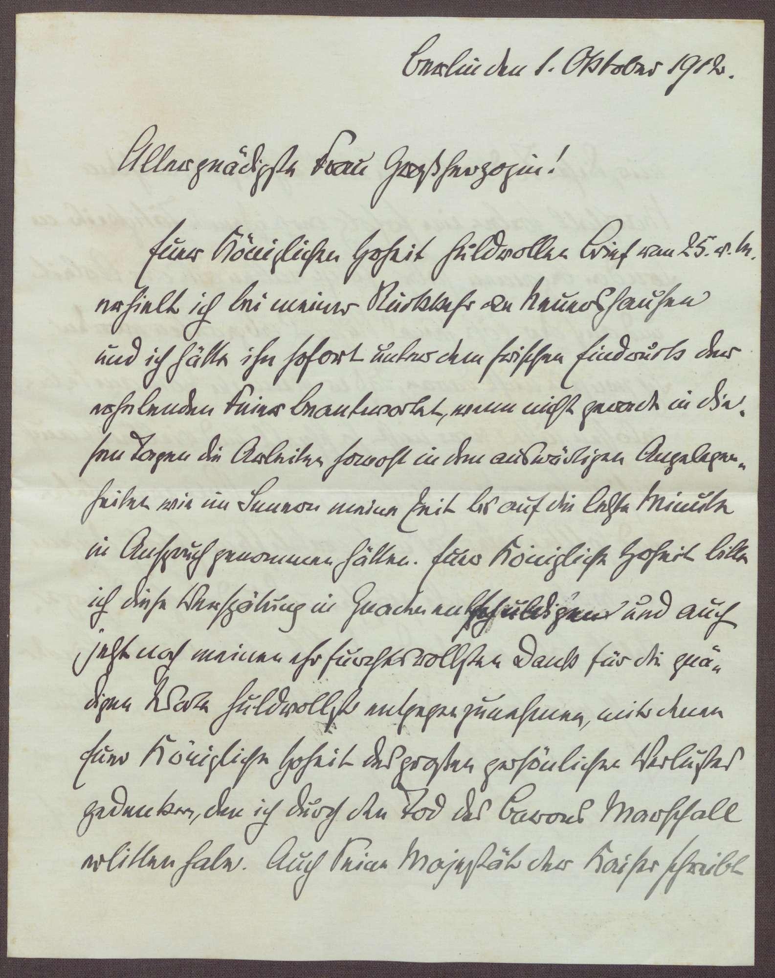 Schreiben von Theobald von Bethmann Hollweg an die Großherzogin Luise; Tod von Adolf Marschall von Biberstein, Bild 1