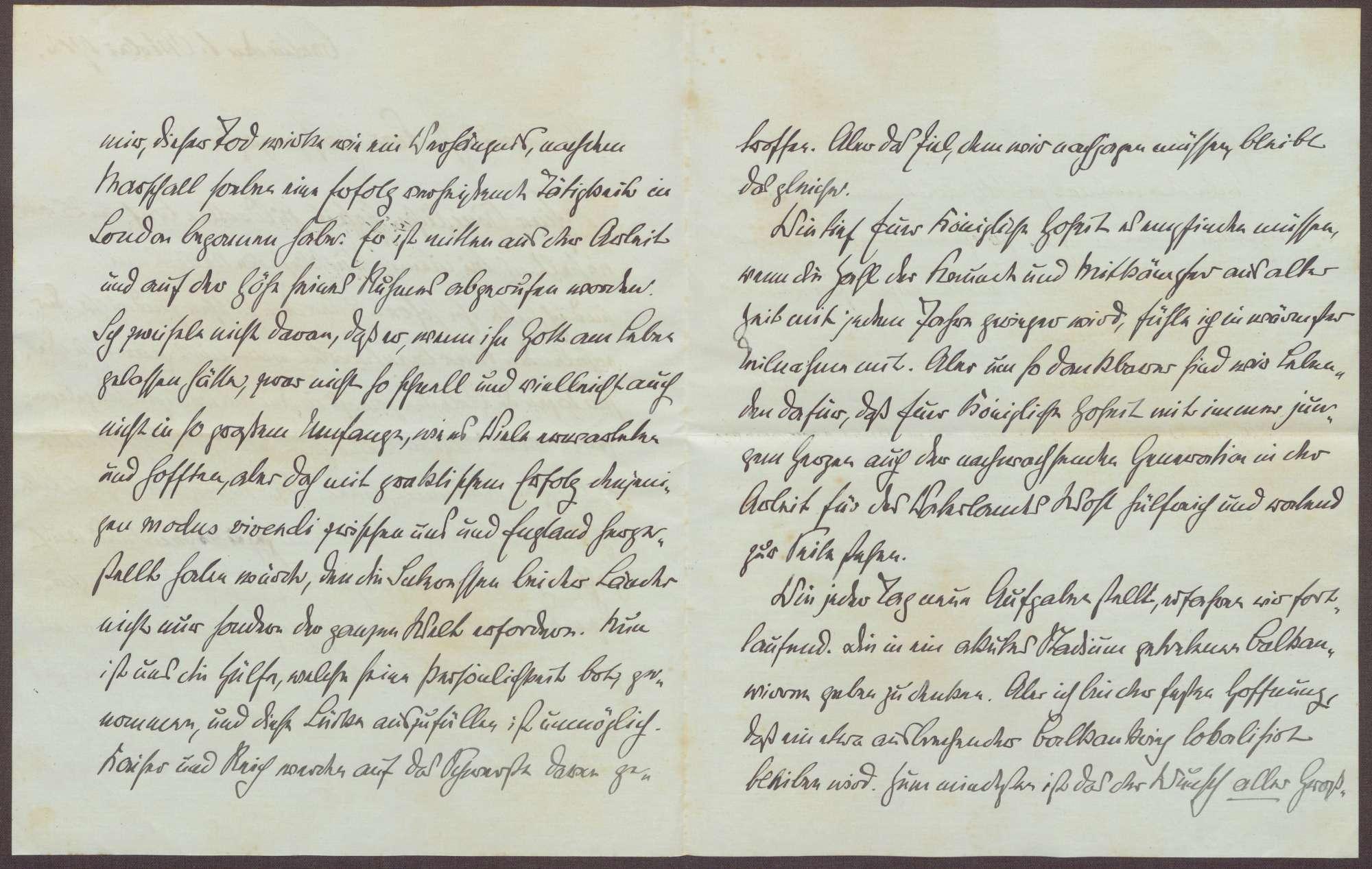 Schreiben von Theobald von Bethmann Hollweg an die Großherzogin Luise; Tod von Adolf Marschall von Biberstein, Bild 2