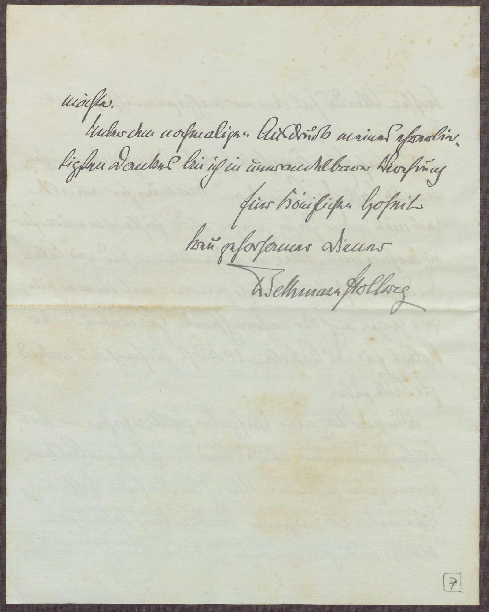 Schreiben von Theobald von Bethmann Hollweg an die Großherzogin Luise; Tod von Adolf Marschall von Biberstein, Bild 3