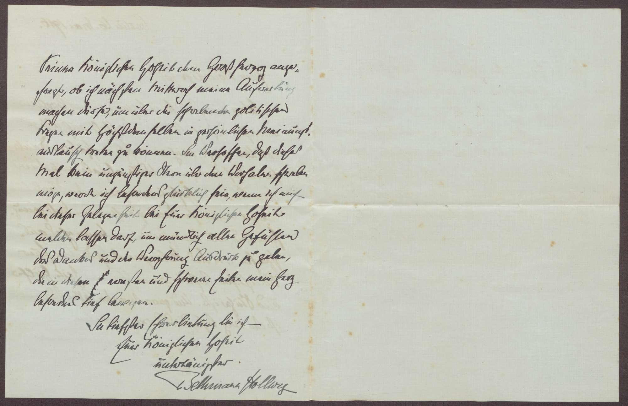Schreiben von Theobald von Bethmann Hollweg an die Großherzogin Luise; Dank für die Anteilnahme am Todestag der Ehefrau; Anfrage nach einer Unterredung mit dem Großherzog Friedrich II. über die politische Lage, Bild 2