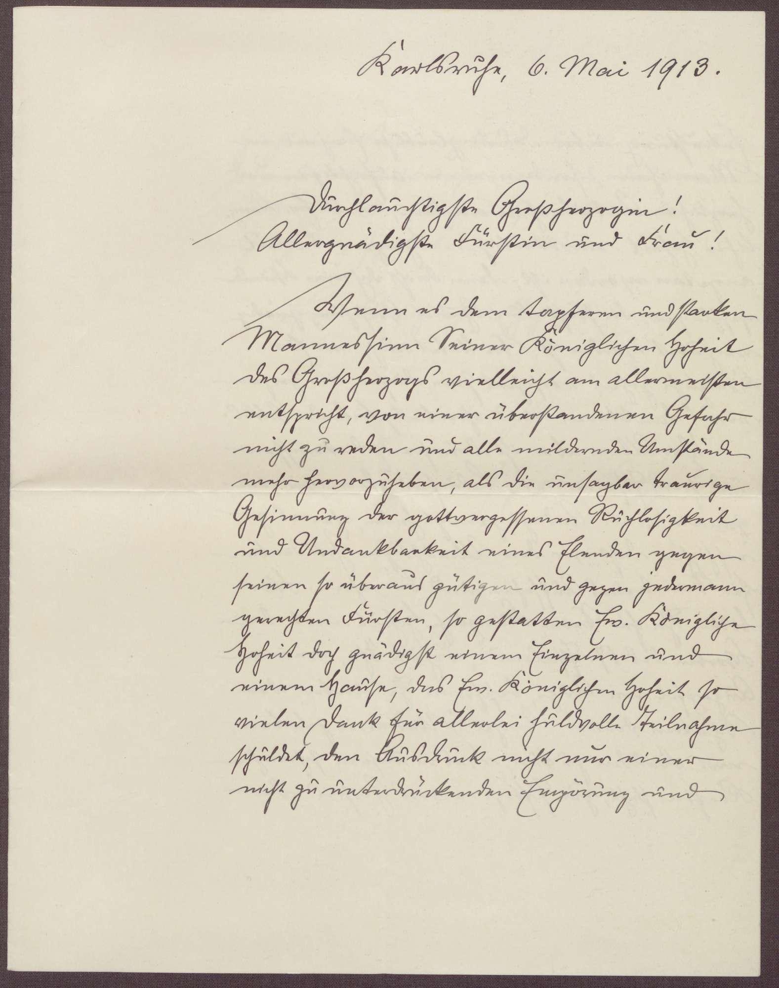 Schreiben von Friedrich Katz an die Großherzogin Luise; trauriger Vorfall mit dem Großherzog Friedrich II. in Mannheim, Bild 1