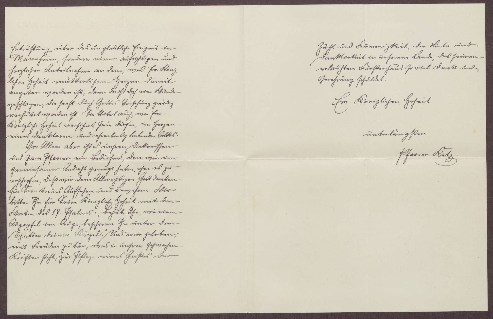 Schreiben von Friedrich Katz an die Großherzogin Luise; trauriger Vorfall mit dem Großherzog Friedrich II. in Mannheim, Bild 2