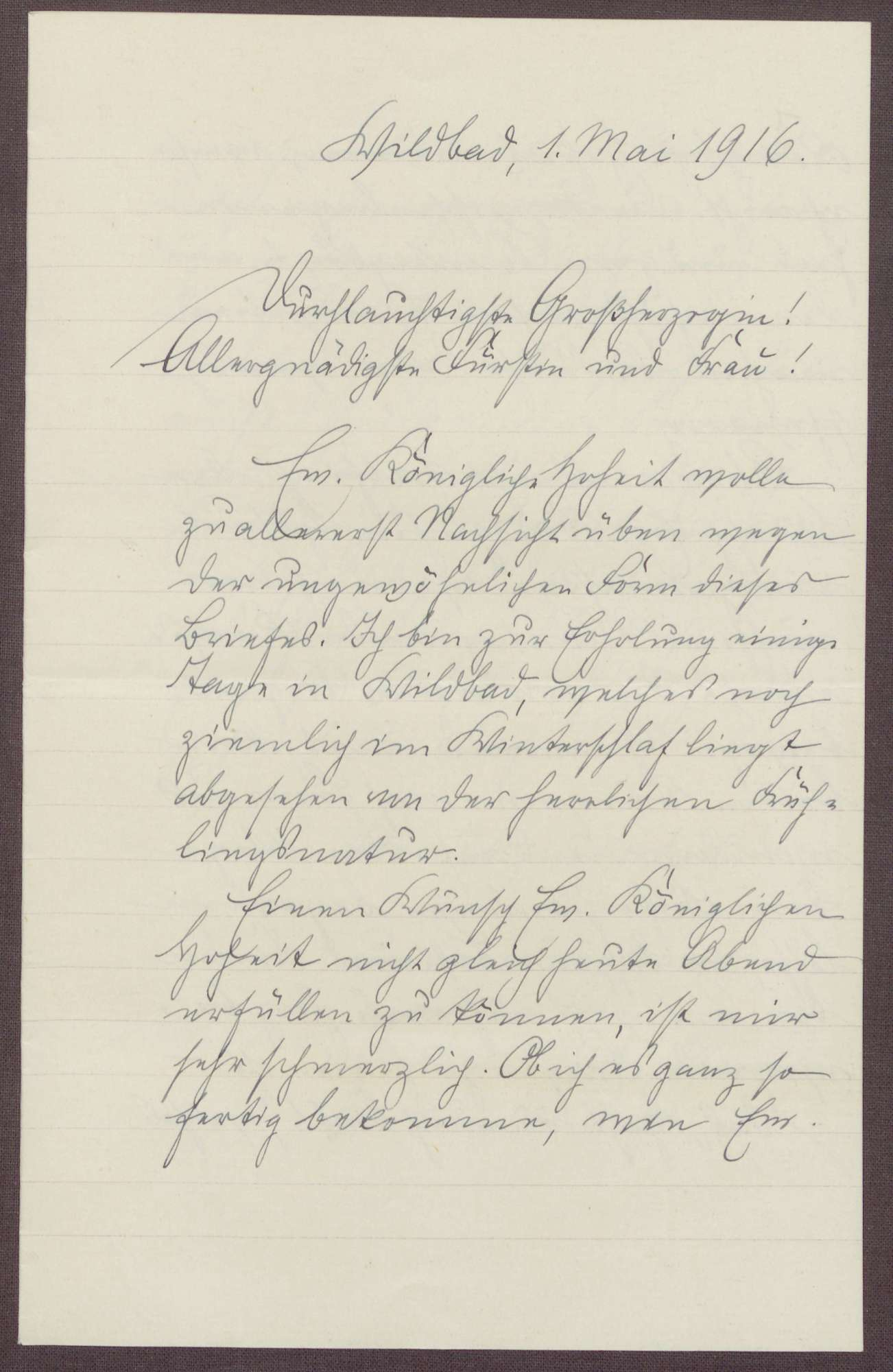 Schreiben von Friedrich Katz an die Großherzogin Luise; Aufenthalt von Friedrich Katz in Bad Wildbad und Kriegsandachten, Bild 1