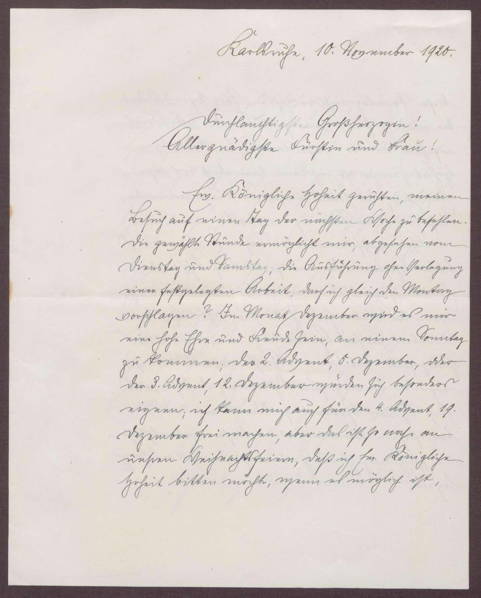 Schreiben von Friedrich Katz an die Großherzogin Luise; Besuch von Katz bei der Großherzogin; Erinnerungen an 1918; Geburtstag von Martin Luther und Friedrich Schiller, Bild 1