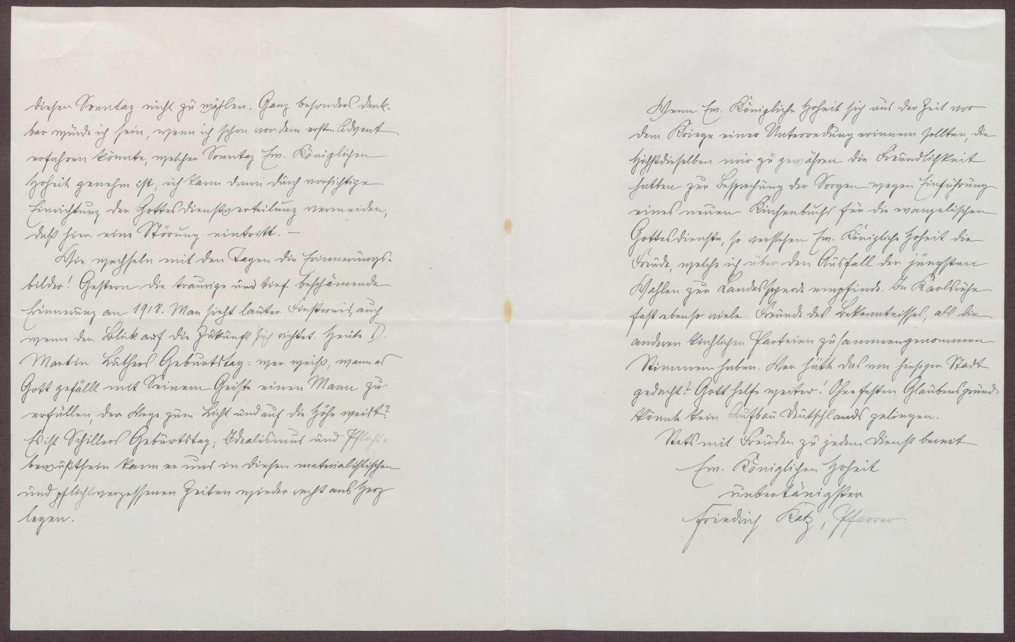 Schreiben von Friedrich Katz an die Großherzogin Luise; Besuch von Katz bei der Großherzogin; Erinnerungen an 1918; Geburtstag von Martin Luther und Friedrich Schiller, Bild 2