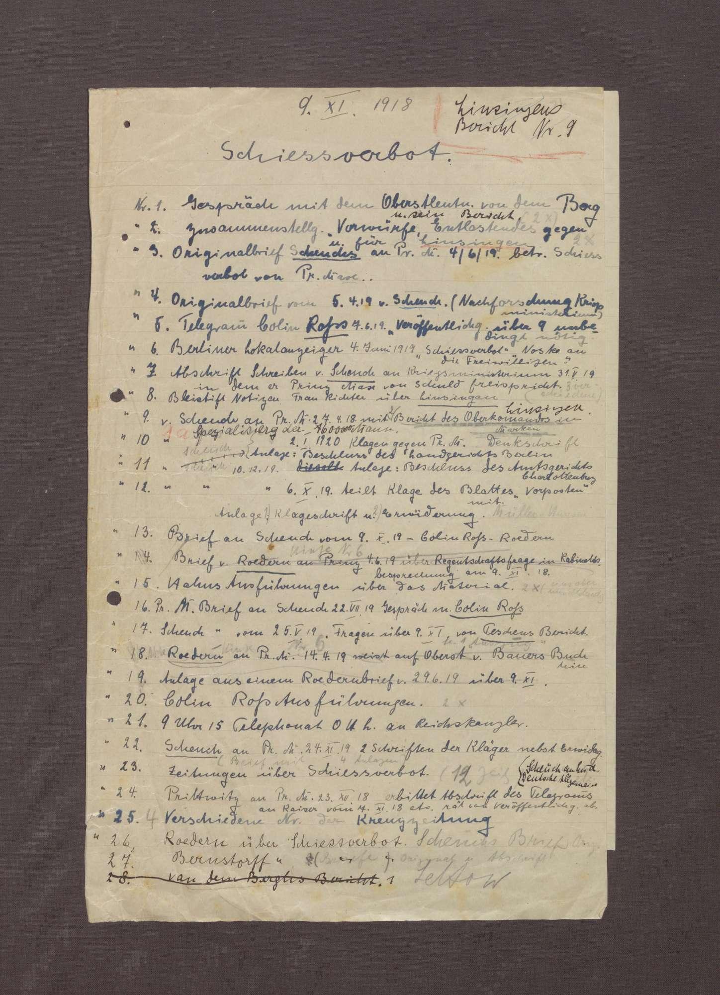 Altes Inhaltsverzeichnisse der Akte, Bild 1