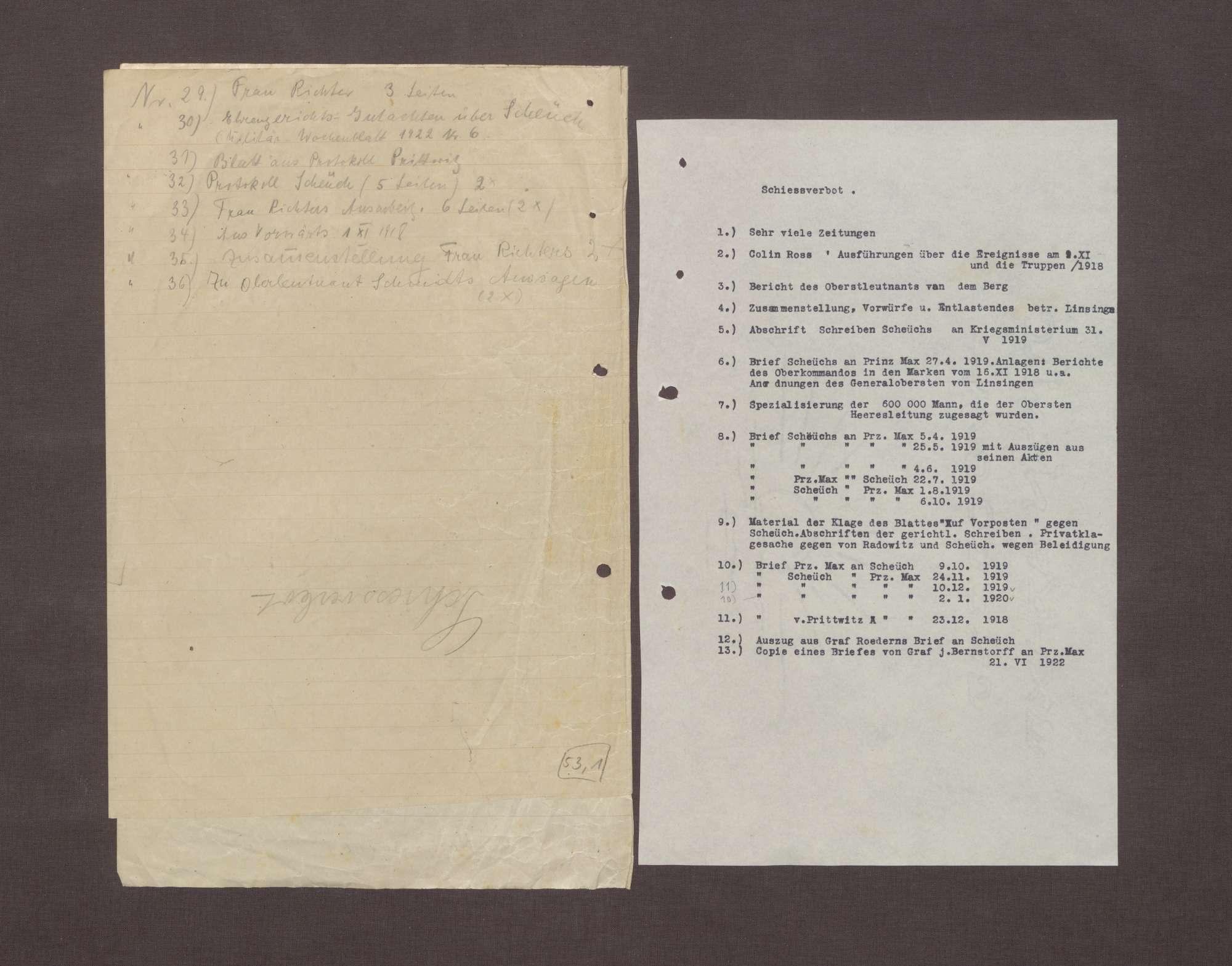Altes Inhaltsverzeichnisse der Akte, Bild 2