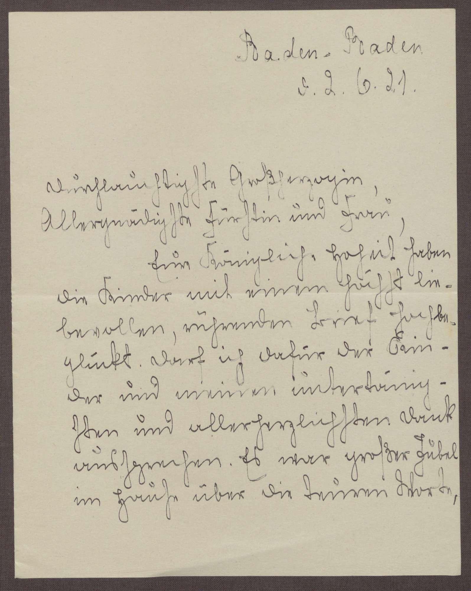 Schreiben von Emilie Göler an die Großherzogin Luise; Aufenthalt der Großherzogin auf der Insel Mainau; Probleme in der Schule, Bild 1