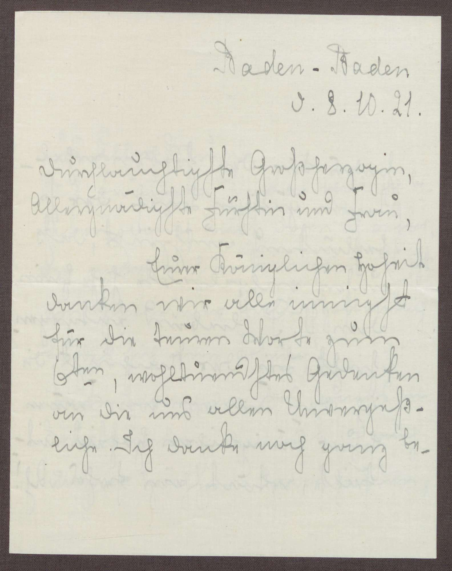 Schreiben von Emilie Göler an die Großherzogin Luise; Tod des Königs Wilhelm II. von Württemberg, Bild 1