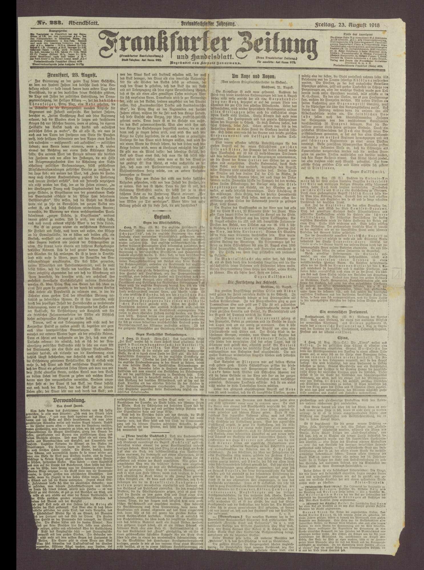 """Artikel in der Frankfurter Zeitung: """"Freitag, 23. August"""", Bild 2"""