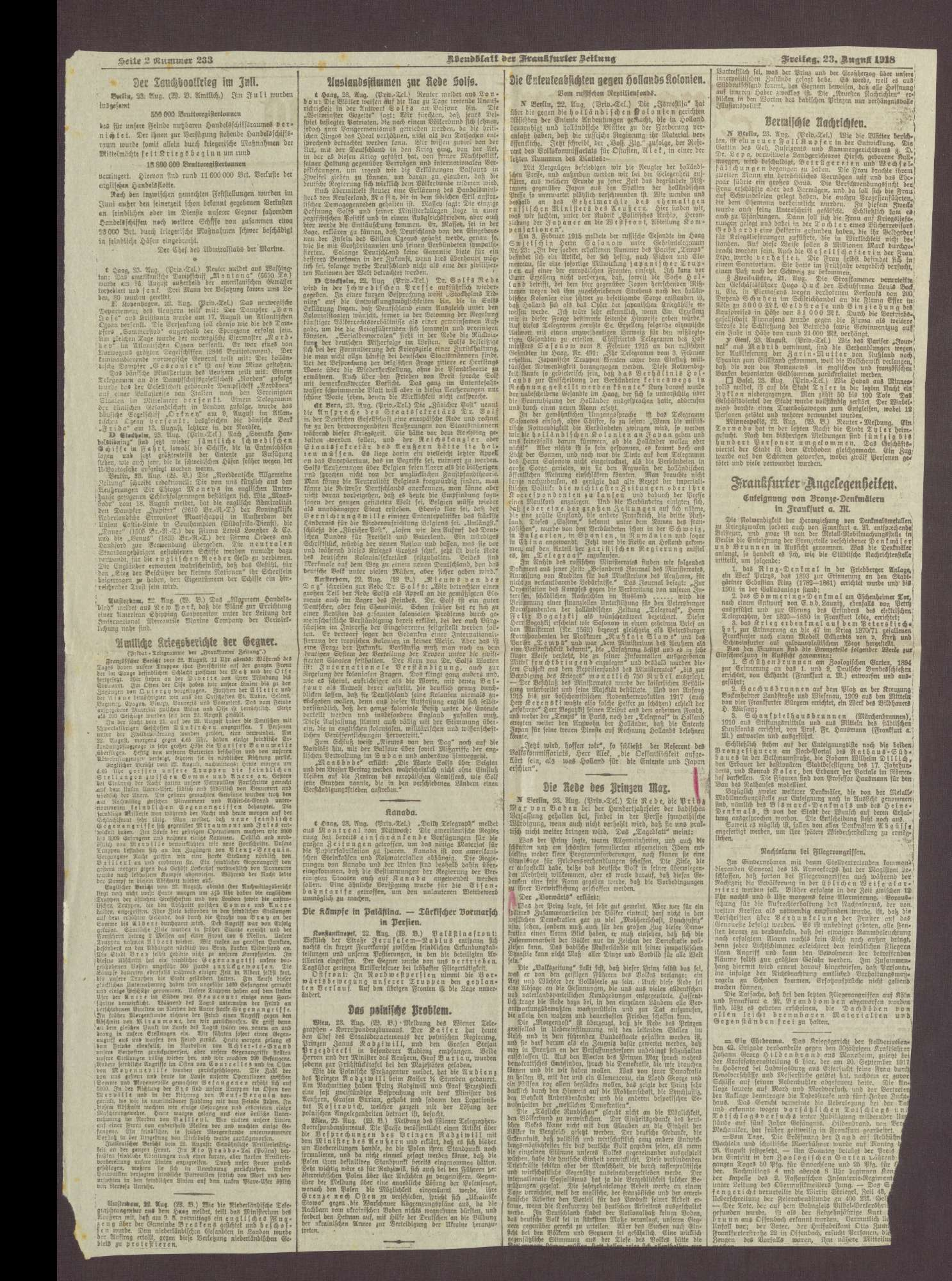 """Artikel in der Frankfurter Zeitung: """"Freitag, 23. August"""", Bild 3"""