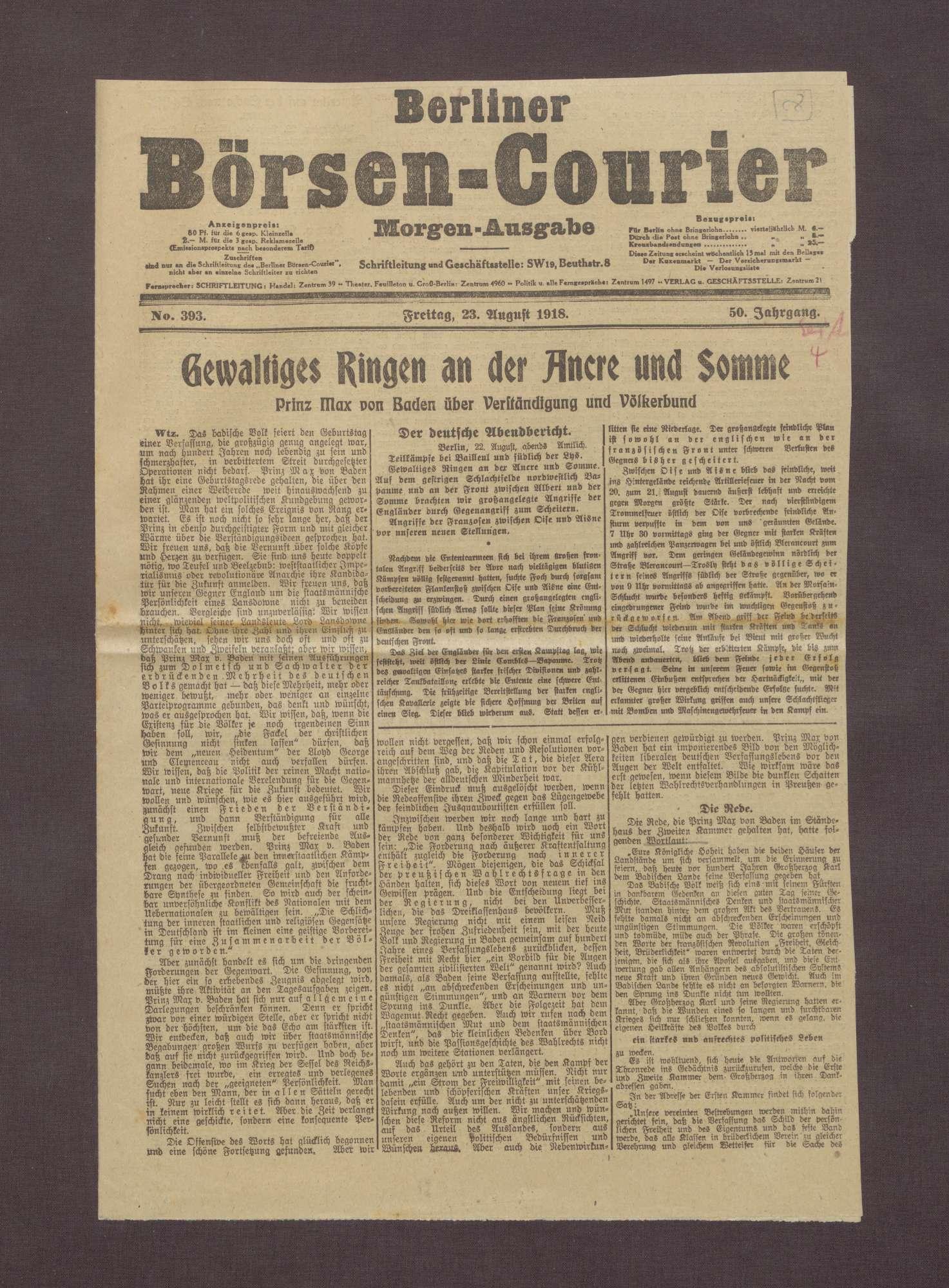"""Artikel aus dem Berliner Börsen-Courier: """"Gewaltiges Ringen an der Ancre und Somme"""", Bild 1"""