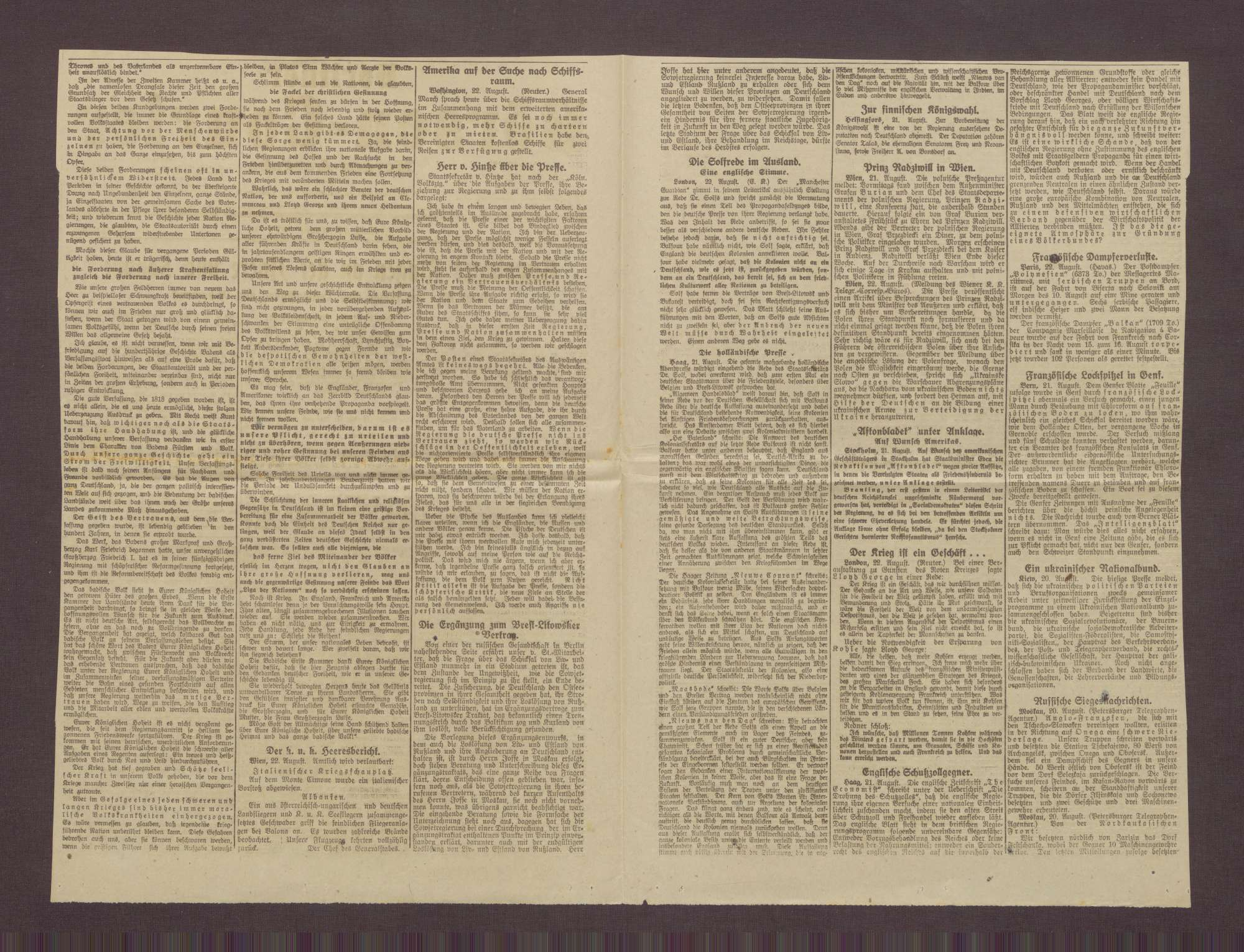 """Artikel aus dem Berliner Börsen-Courier: """"Gewaltiges Ringen an der Ancre und Somme"""", Bild 2"""