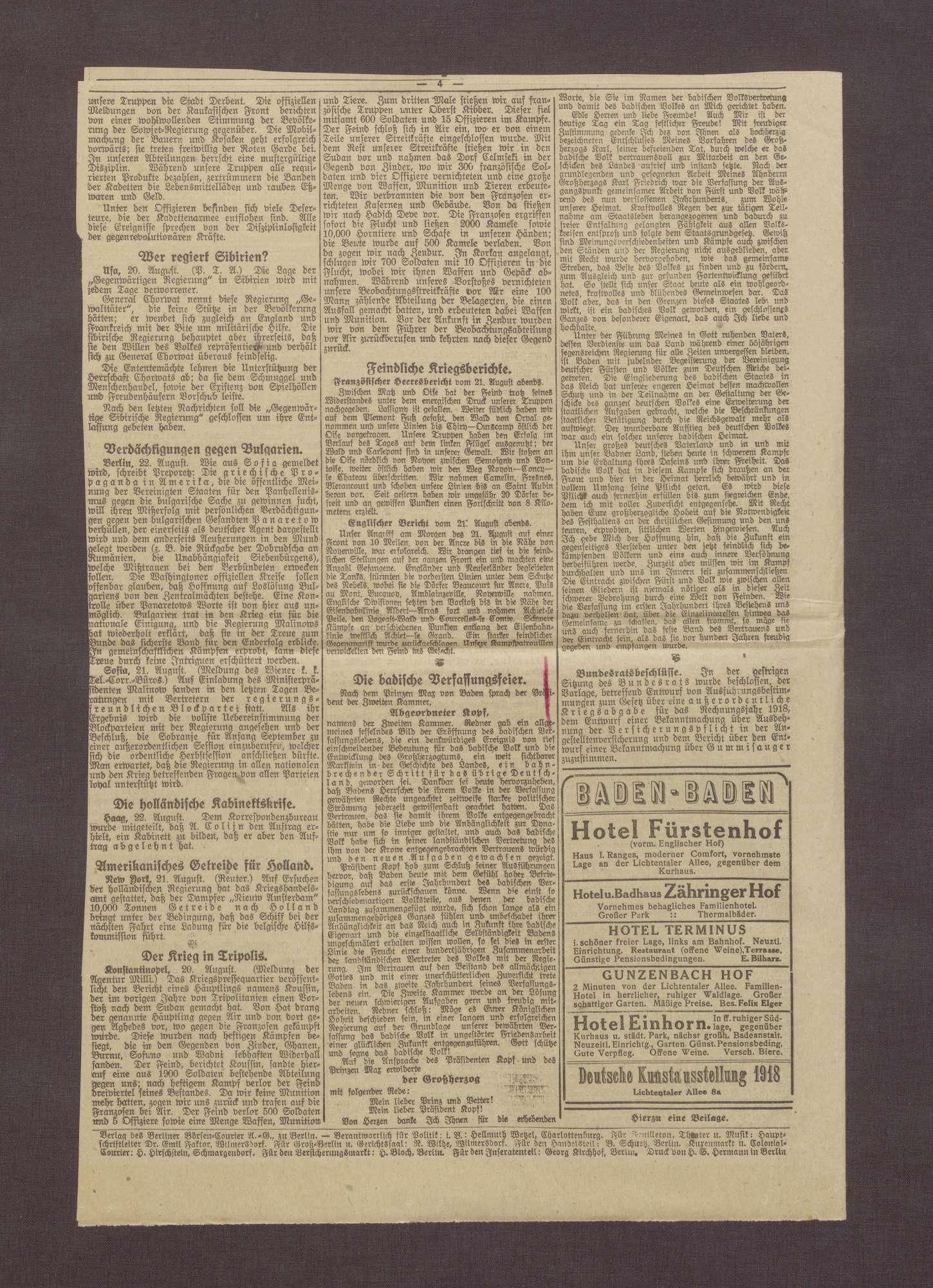 """Artikel aus dem Berliner Börsen-Courier: """"Gewaltiges Ringen an der Ancre und Somme"""", Bild 3"""