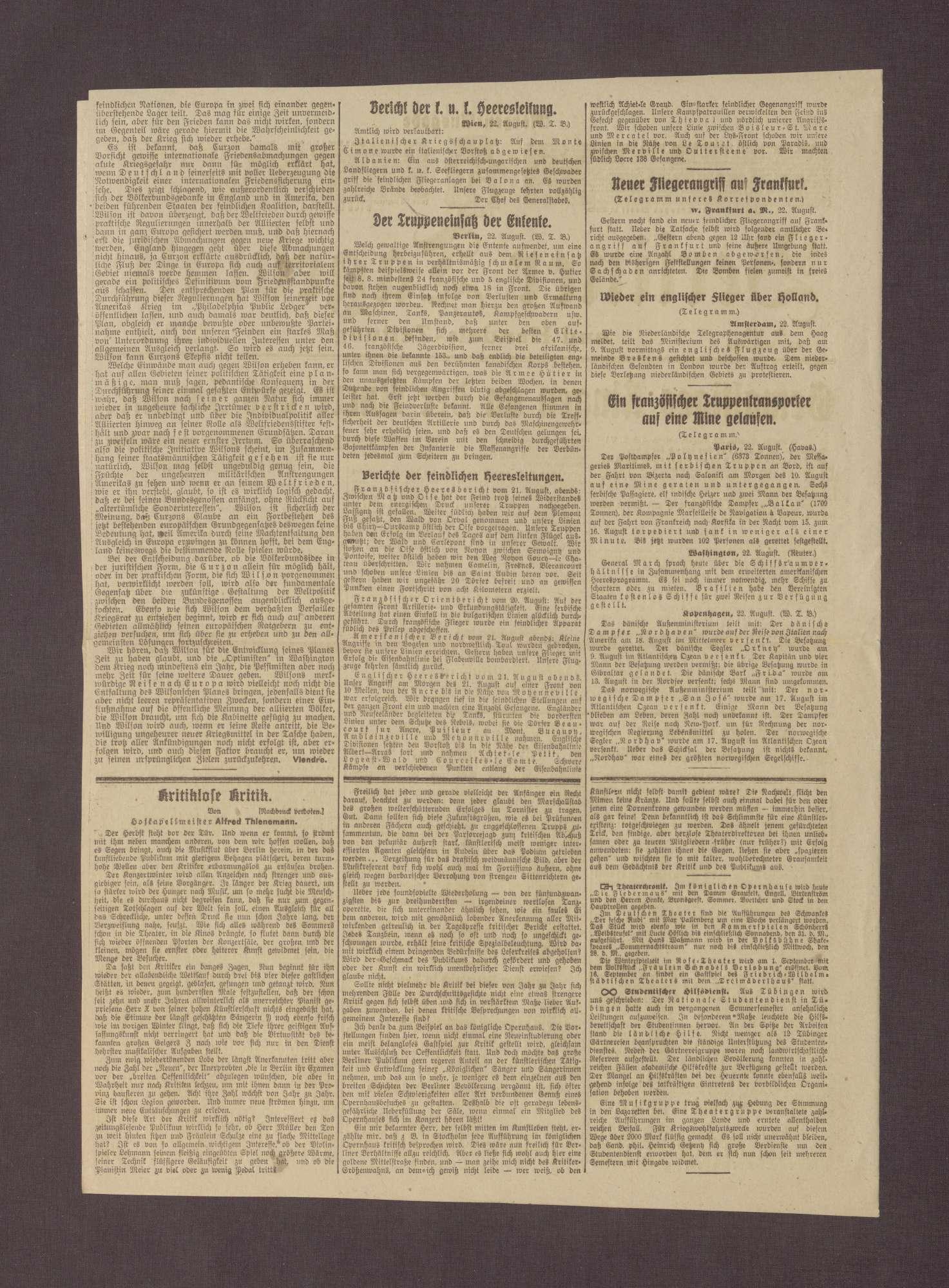 """Artikel in dem Berliner Tageblatt: """"Prinz Max von Baden über die Zusammenarbeit der Völker"""", Bild 2"""