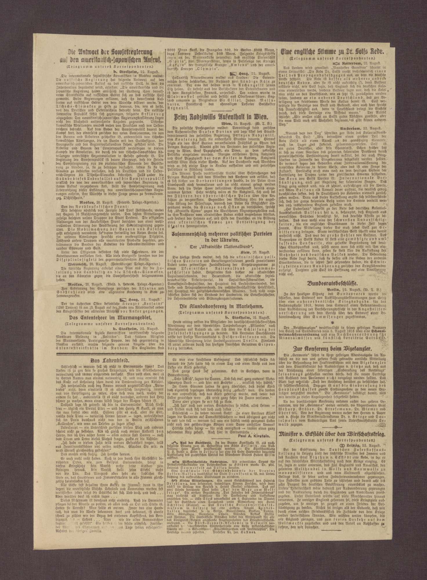 """Artikel in dem Berliner Tageblatt: """"Prinz Max von Baden über die Zusammenarbeit der Völker"""", Bild 3"""