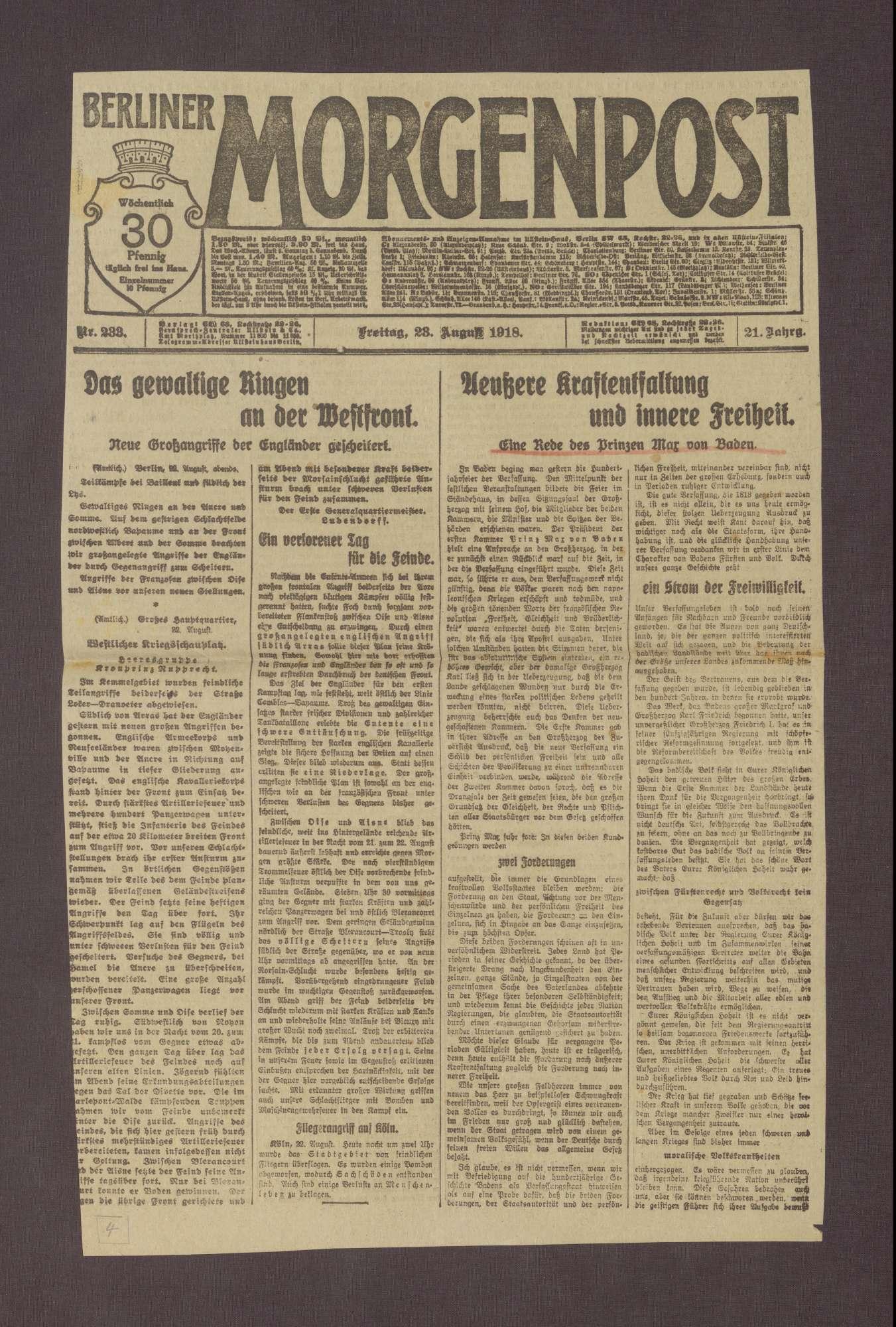 """Artikel in der Berliner Morgenpost: """"Äußere Kraftentlastung und innere Freiheit"""", Bild 1"""
