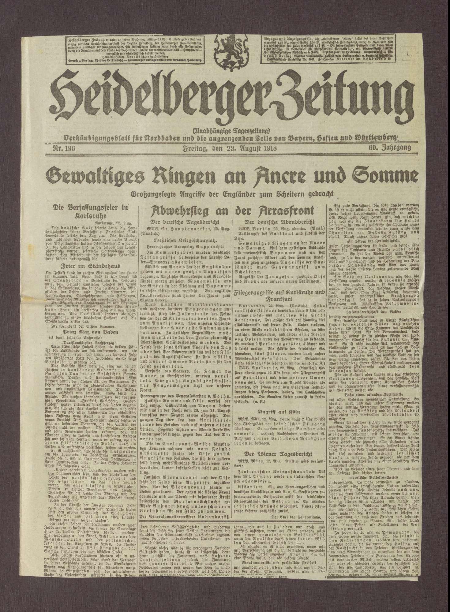 """Artikel in der Heidelberger Zeitung: """"Gegenhiebe"""", Bild 1"""