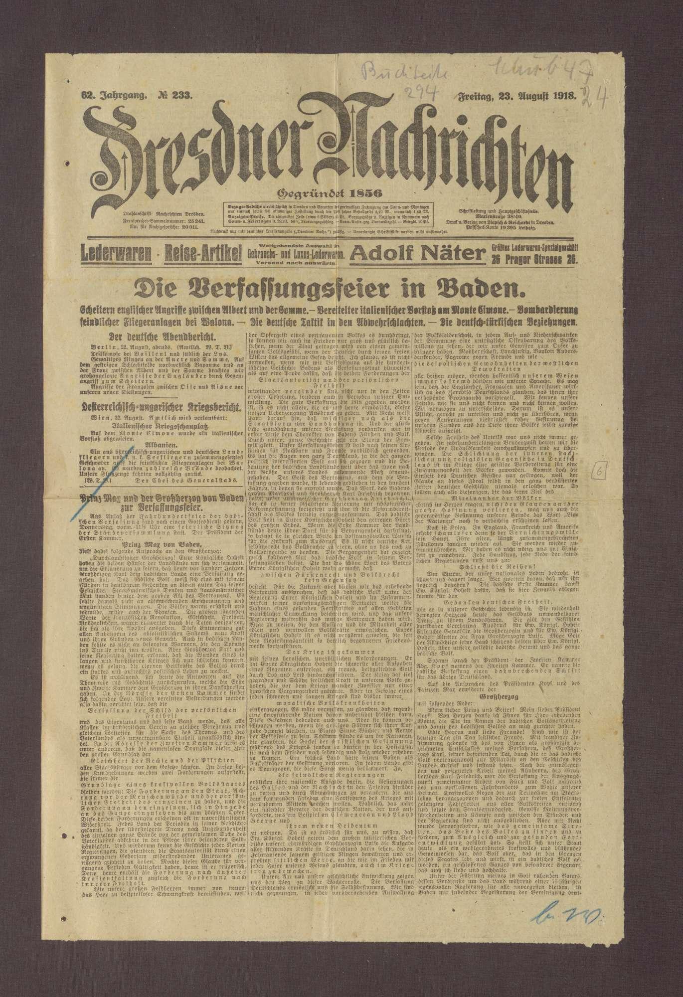 """Artikel in den Dresdner Nachrichten: """"Prinz Max und der Großherzog von Baden zur Verfassungsfeier"""", Bild 1"""