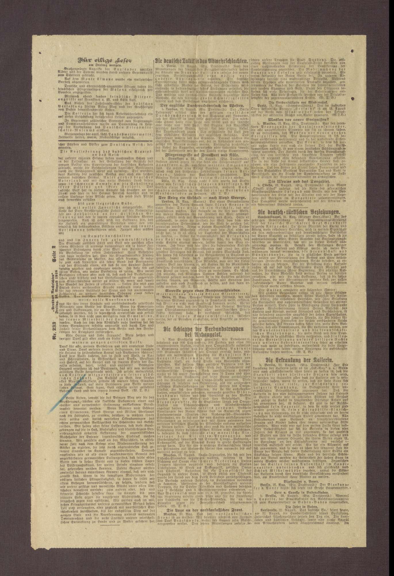 """Artikel in den Dresdner Nachrichten: """"Prinz Max und der Großherzog von Baden zur Verfassungsfeier"""", Bild 2"""