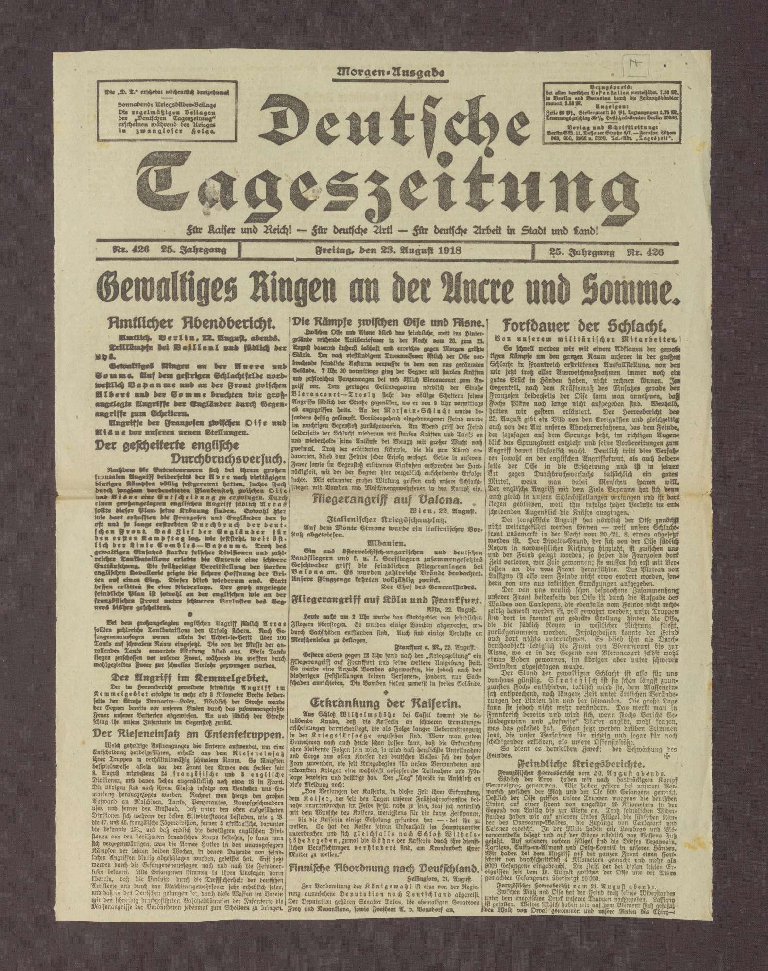 """Artikel in der Deutschen Tageszeitung: """"Hundertjahrfeier der badischen Verfassung"""", Bild 1"""