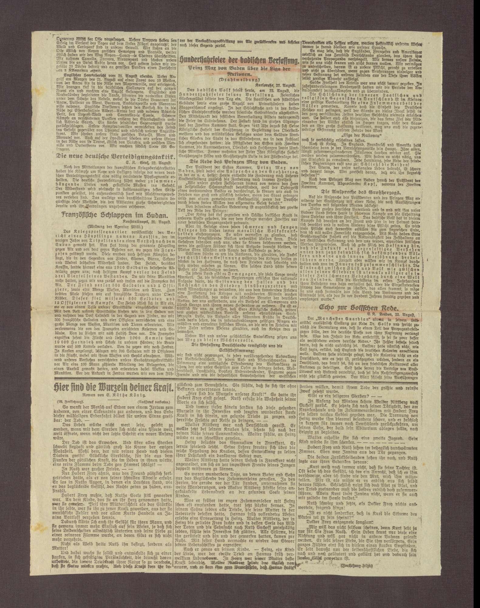 """Artikel in der Deutschen Tageszeitung: """"Hundertjahrfeier der badischen Verfassung"""", Bild 2"""
