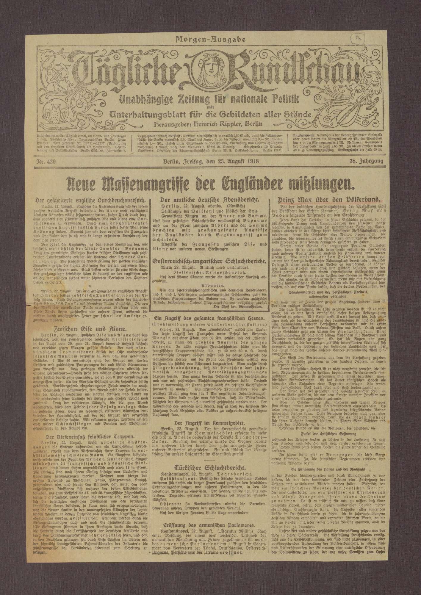 """Artikel in der Täglichen Rundschau: """"Prinz Max über den Völkerbund"""", Bild 1"""