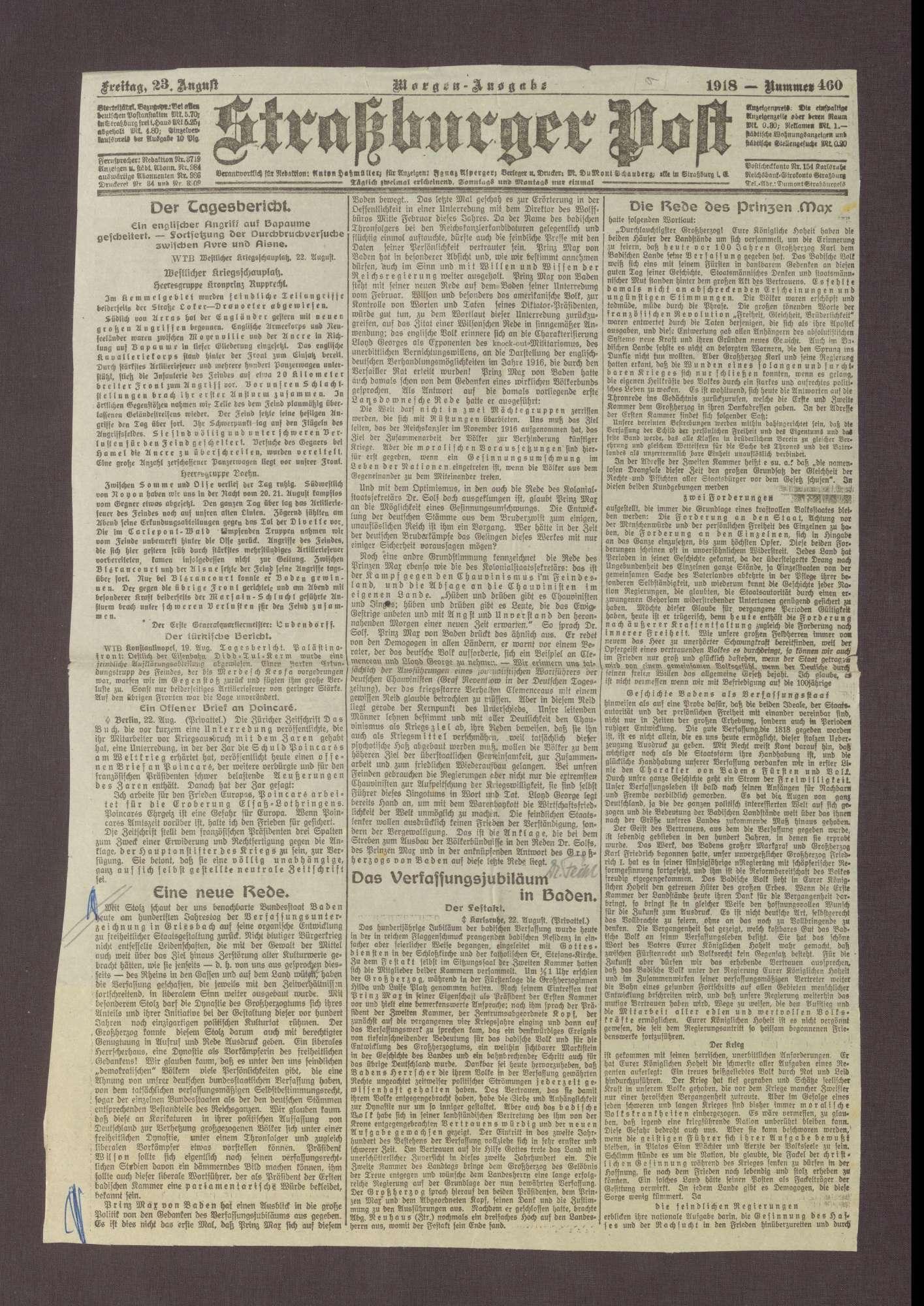 """Artikel in der Straßburger Post: """"Die Rede des Prinzen Max"""", Bild 1"""