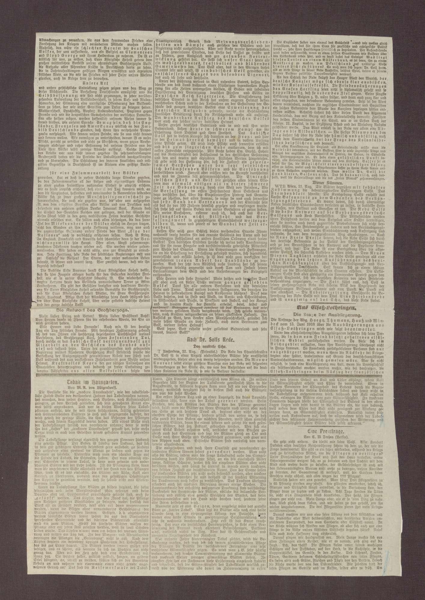 """Artikel in der Straßburger Post: """"Die Rede des Prinzen Max"""", Bild 2"""