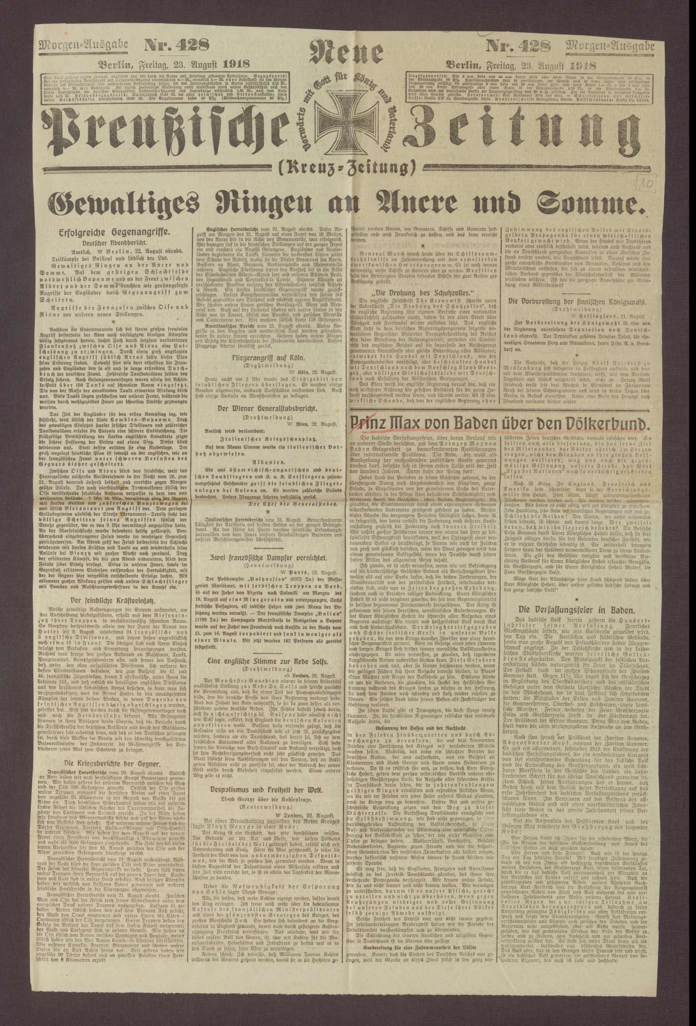 """Artikel in den Neuen Preußischen Zeitung: """"Prinz Max von Baden über den Völkerbund"""", Bild 1"""